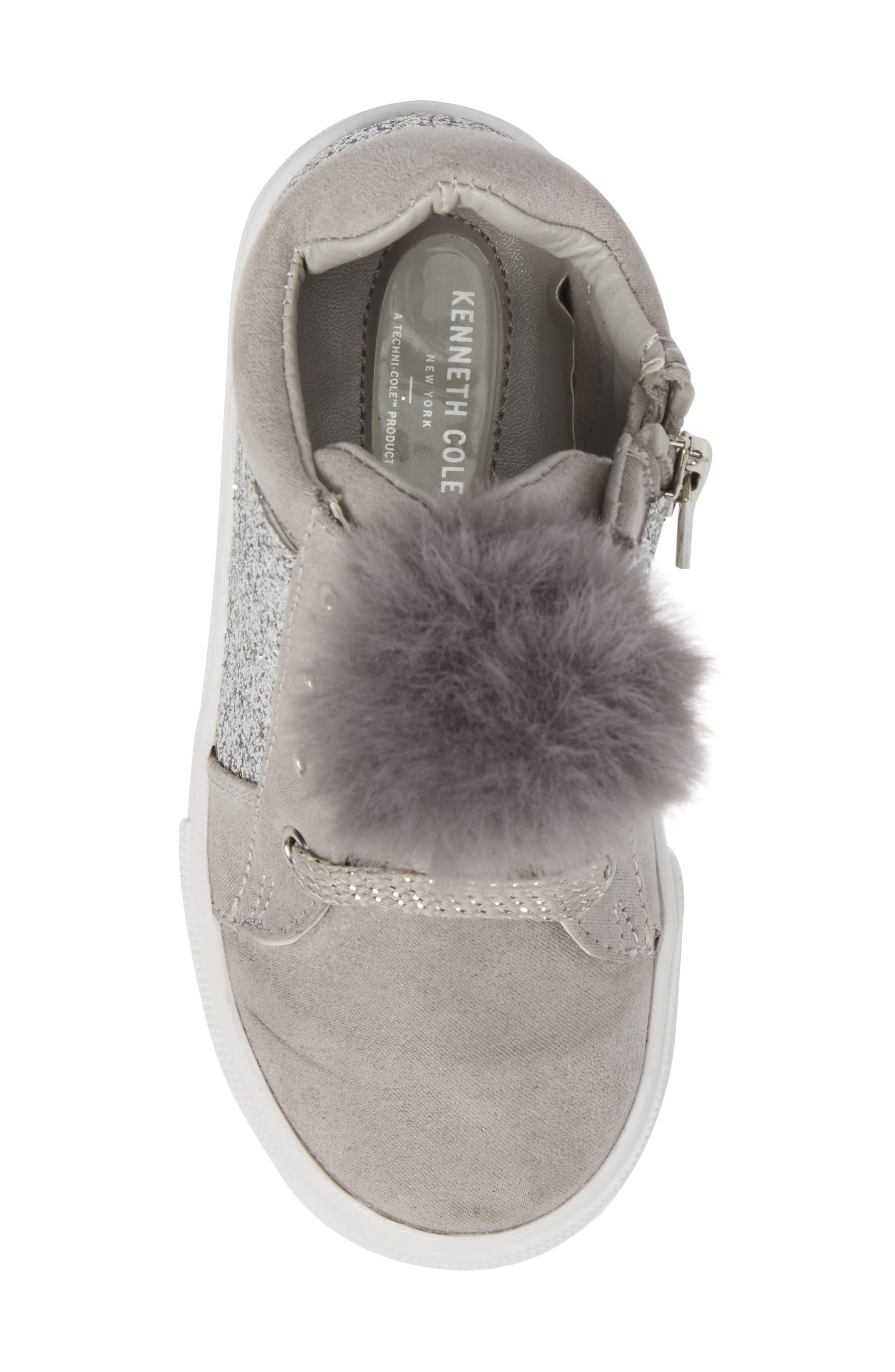 Kam Kid Faux Fur Glitter Sneaker,                             Alternate thumbnail 5, color,                             Light Grey