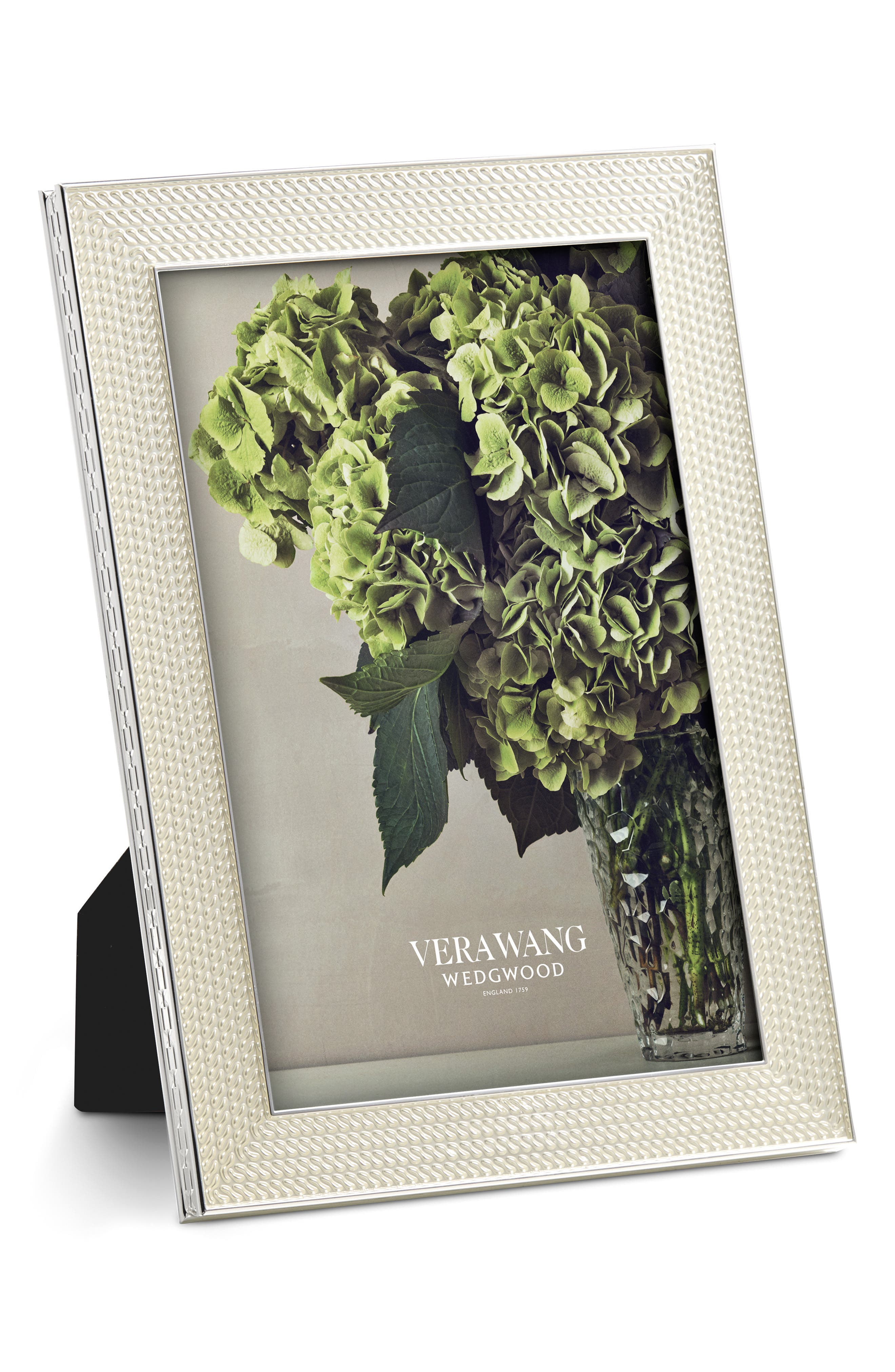 x Wedgwood With Love Nouveau Pearl Picture Frame,                             Main thumbnail 1, color,                             Metallic Silver