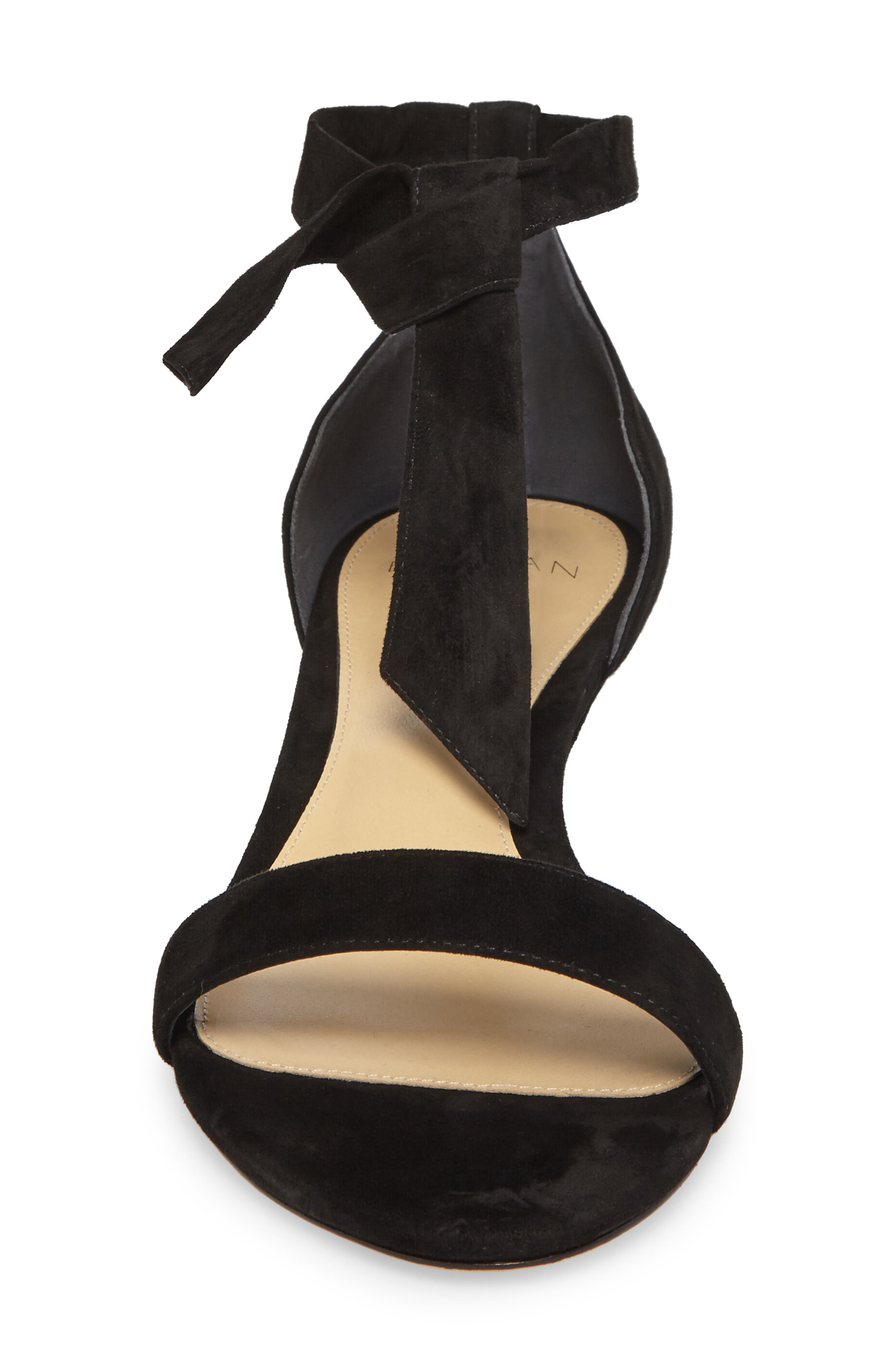 Atena Tie Strap Wedge Sandal,                             Alternate thumbnail 4, color,                             Black Suede