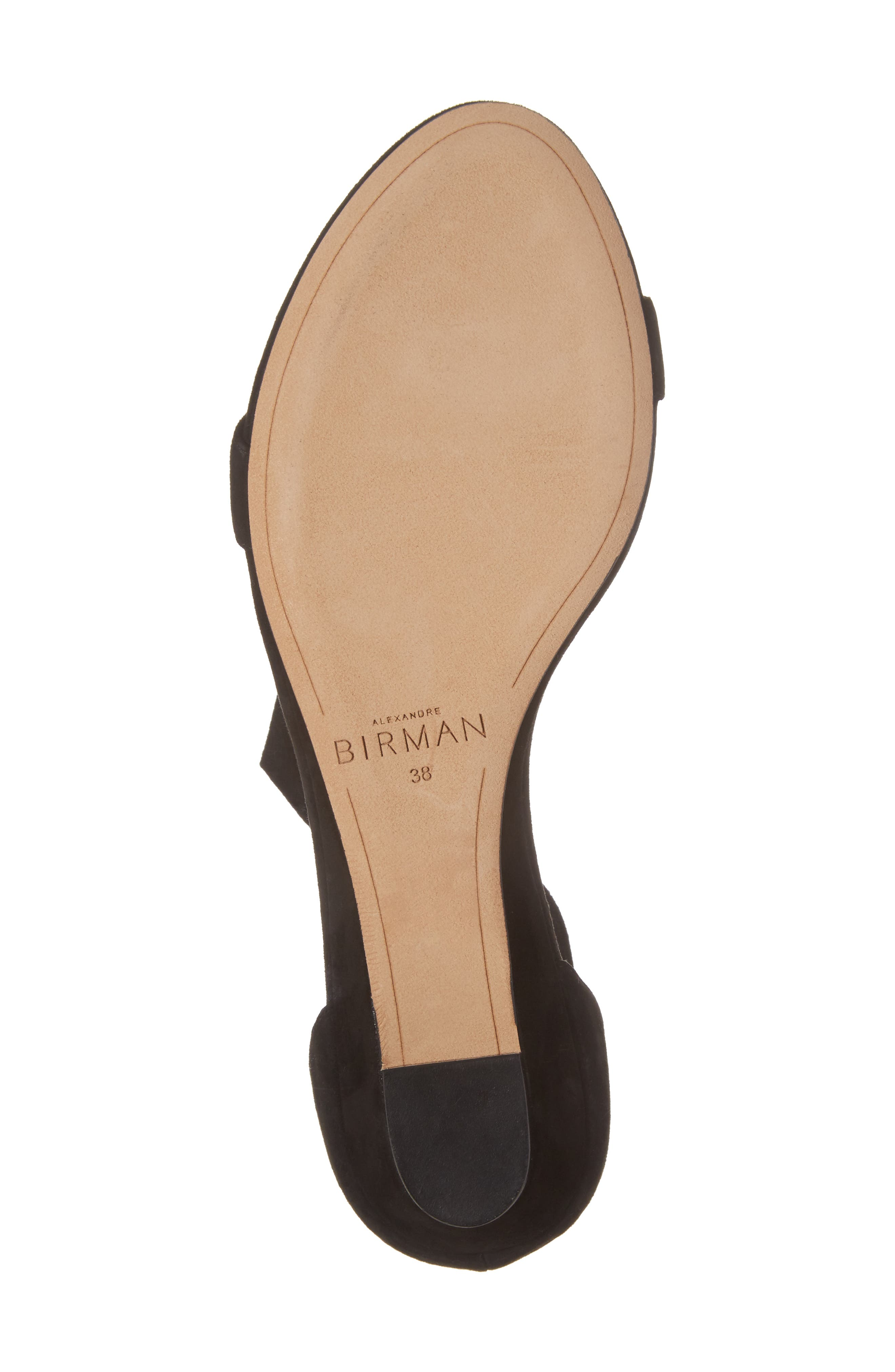 Atena Tie Strap Wedge Sandal,                             Alternate thumbnail 6, color,                             Black Suede