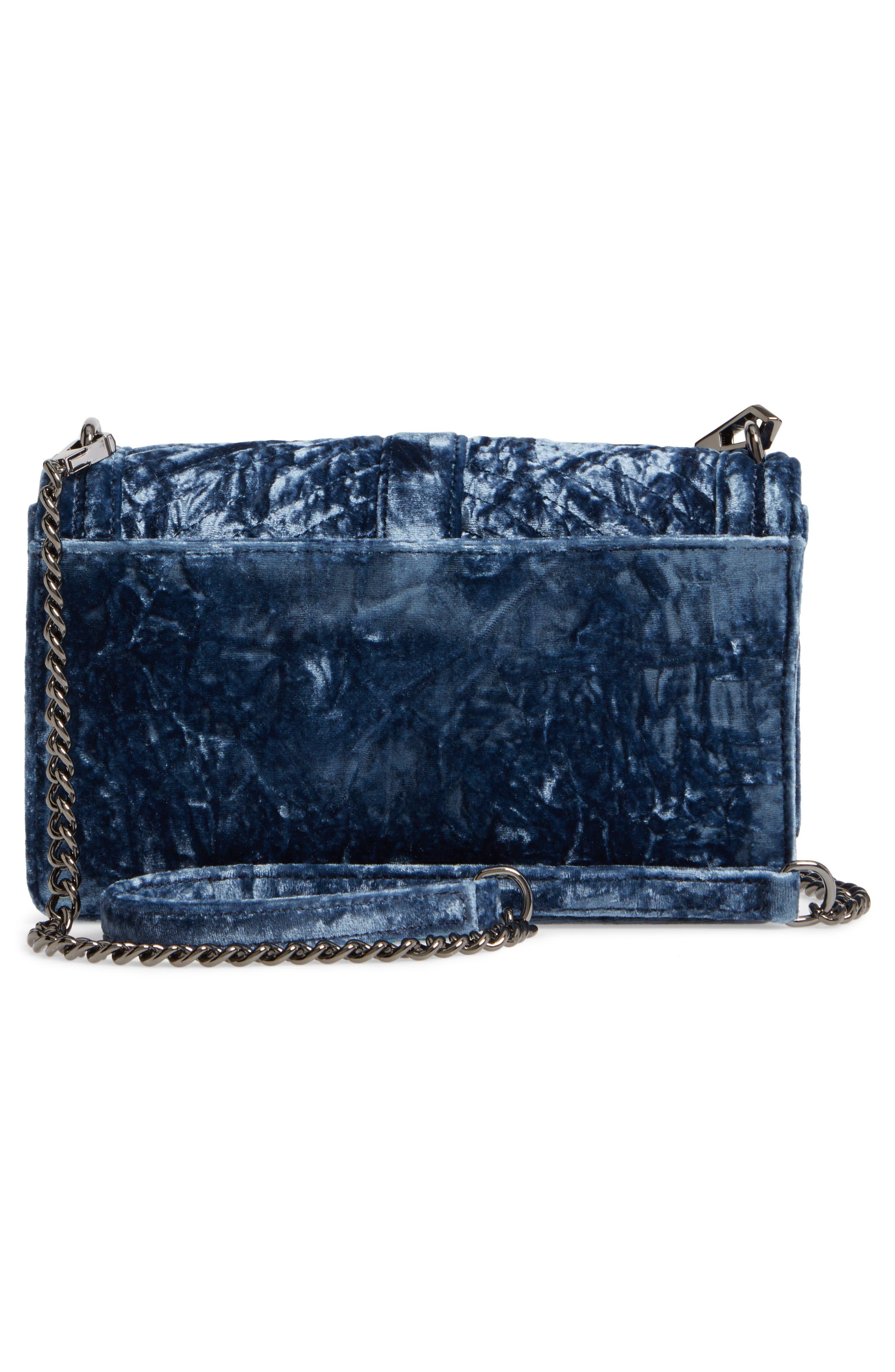 Love Velvet Quilted Crossbody Bag,                             Alternate thumbnail 3, color,                             Blue
