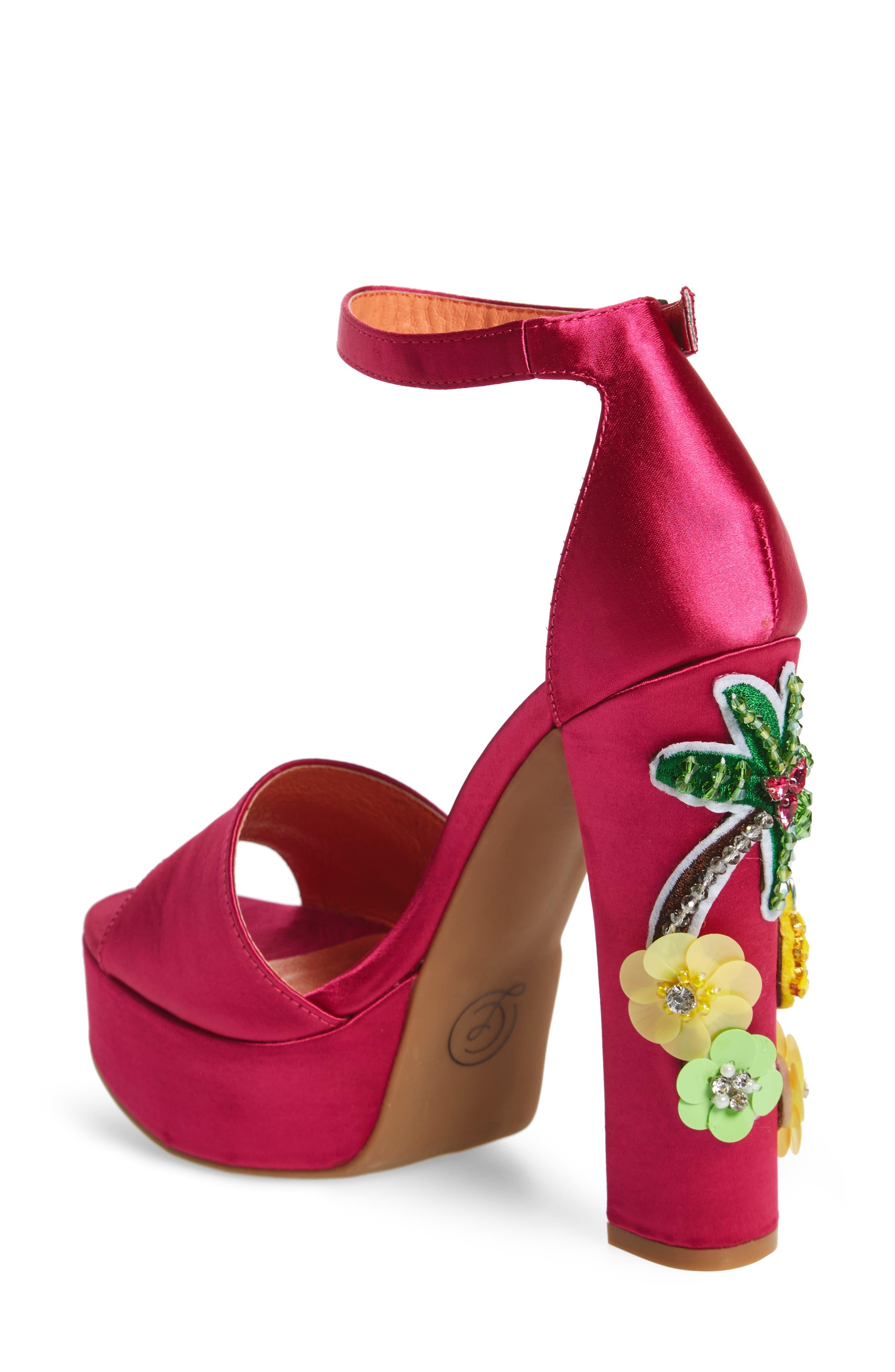 Aloha Embellished Platform Sandal,                             Alternate thumbnail 2, color,                             Hot Pink