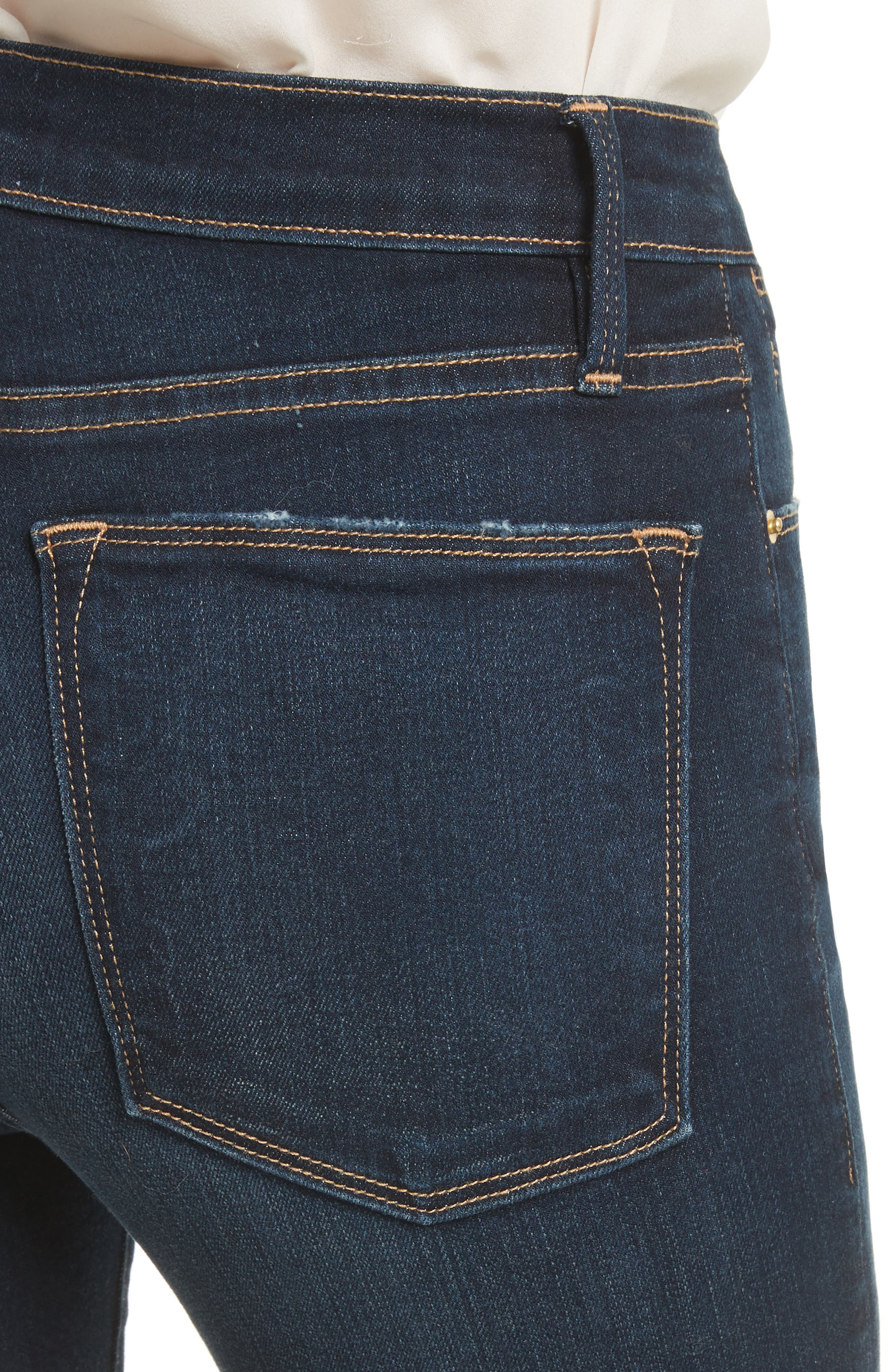 Le High Straight Raw Stagger Jeans,                             Alternate thumbnail 5, color,                             Cabana