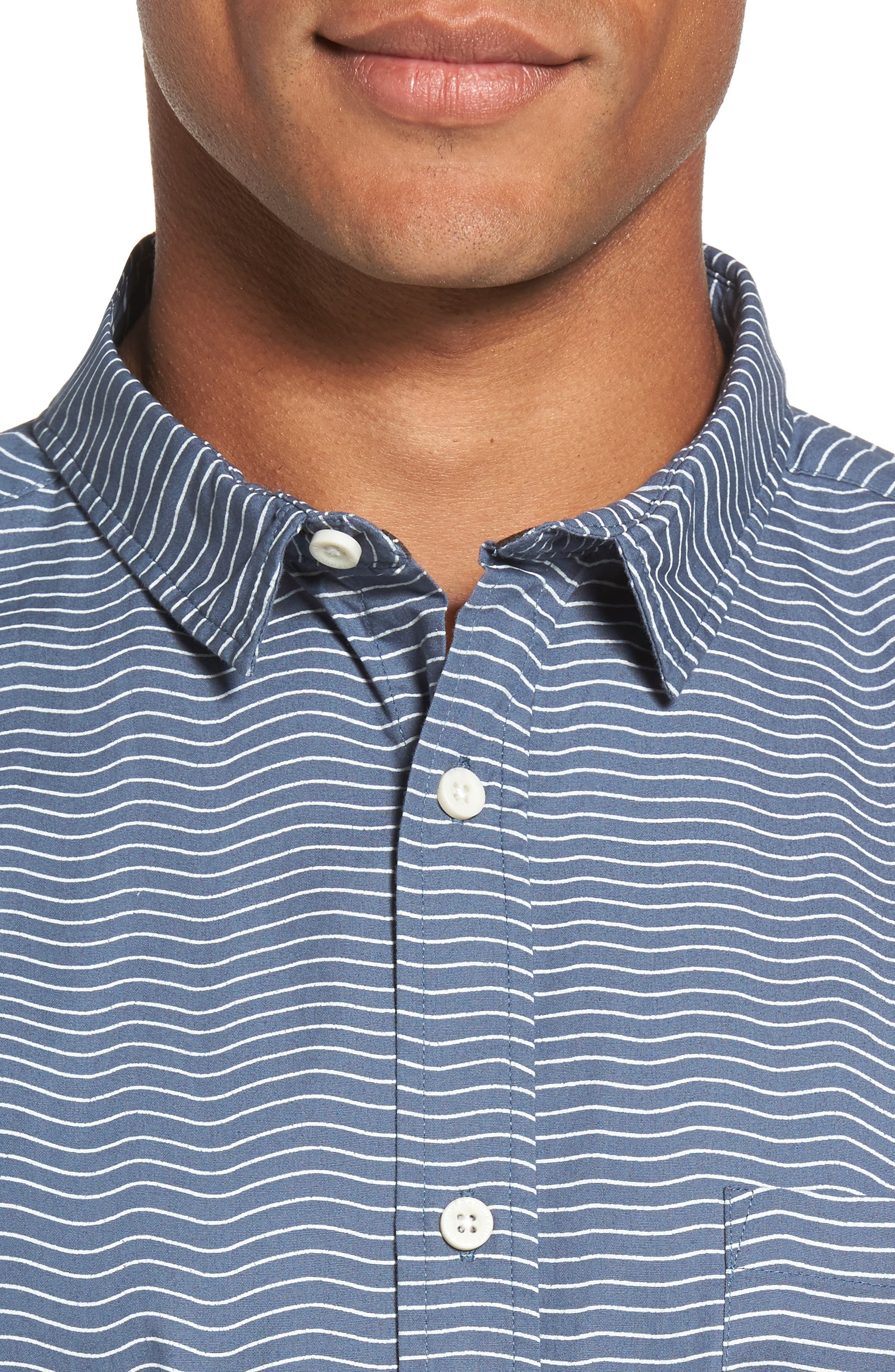 Heat Wave Stripe Shirt,                             Alternate thumbnail 4, color,                             Blue