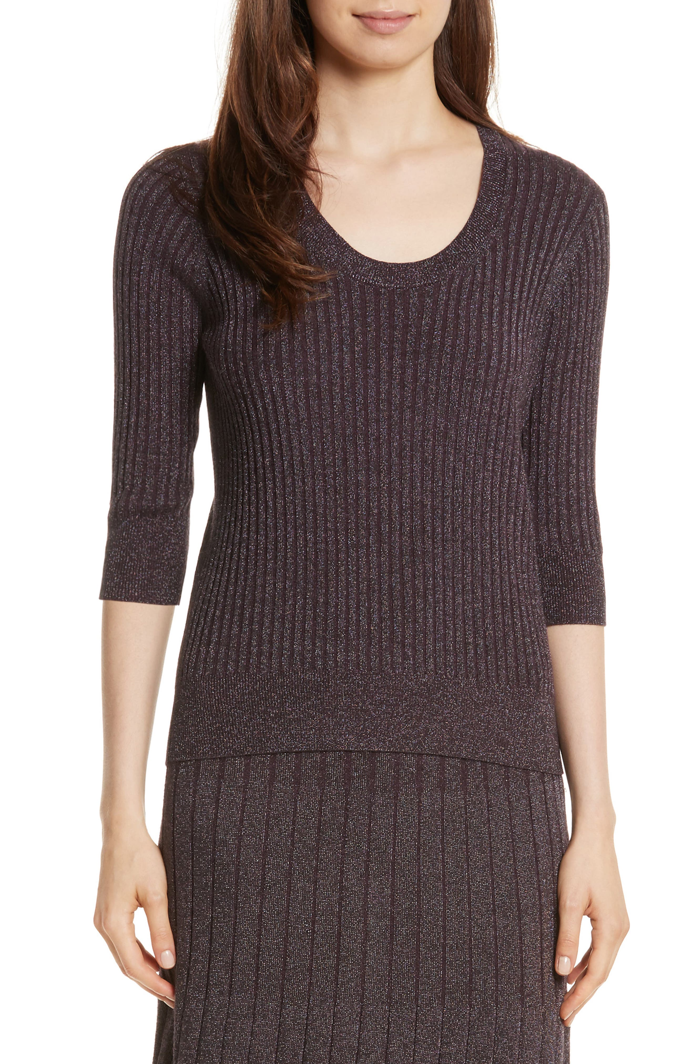 Metallic Rib Sweater,                         Main,                         color, Merlot