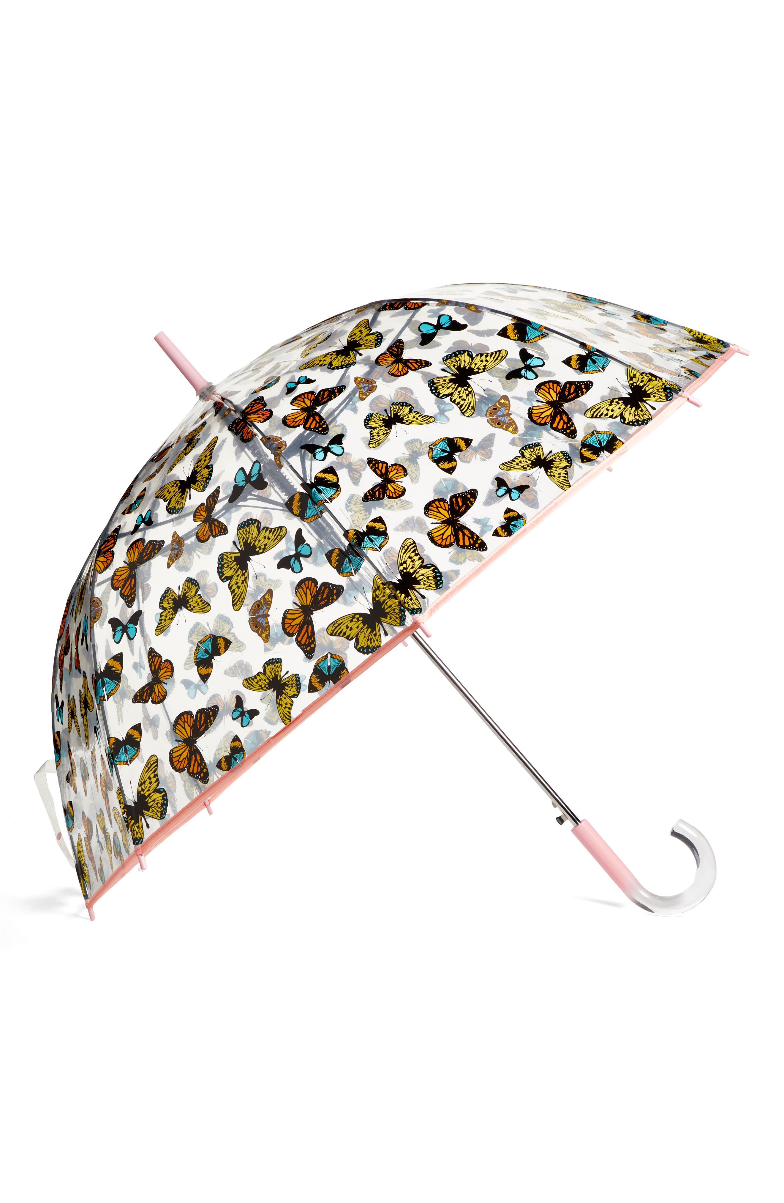 'The Bubble' Auto Open Stick Umbrella,                             Main thumbnail 1, color,                             Nord Butterfly
