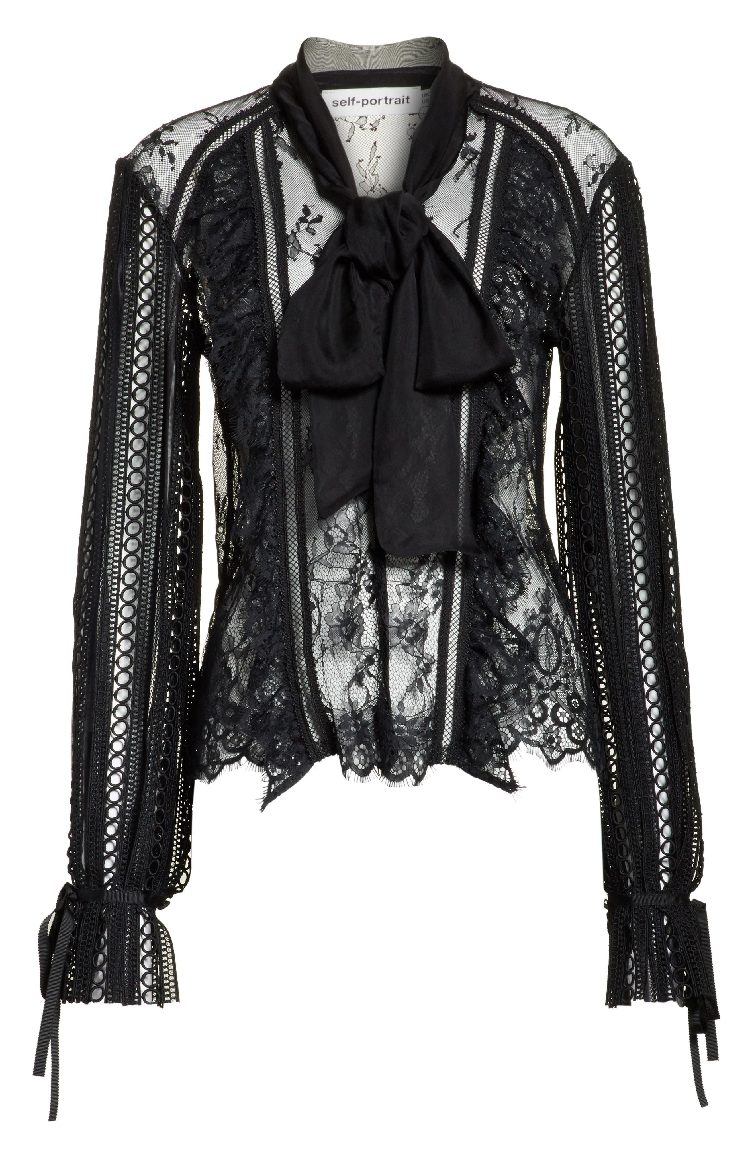 Paneled Lace Top,                             Alternate thumbnail 6, color,                             Black