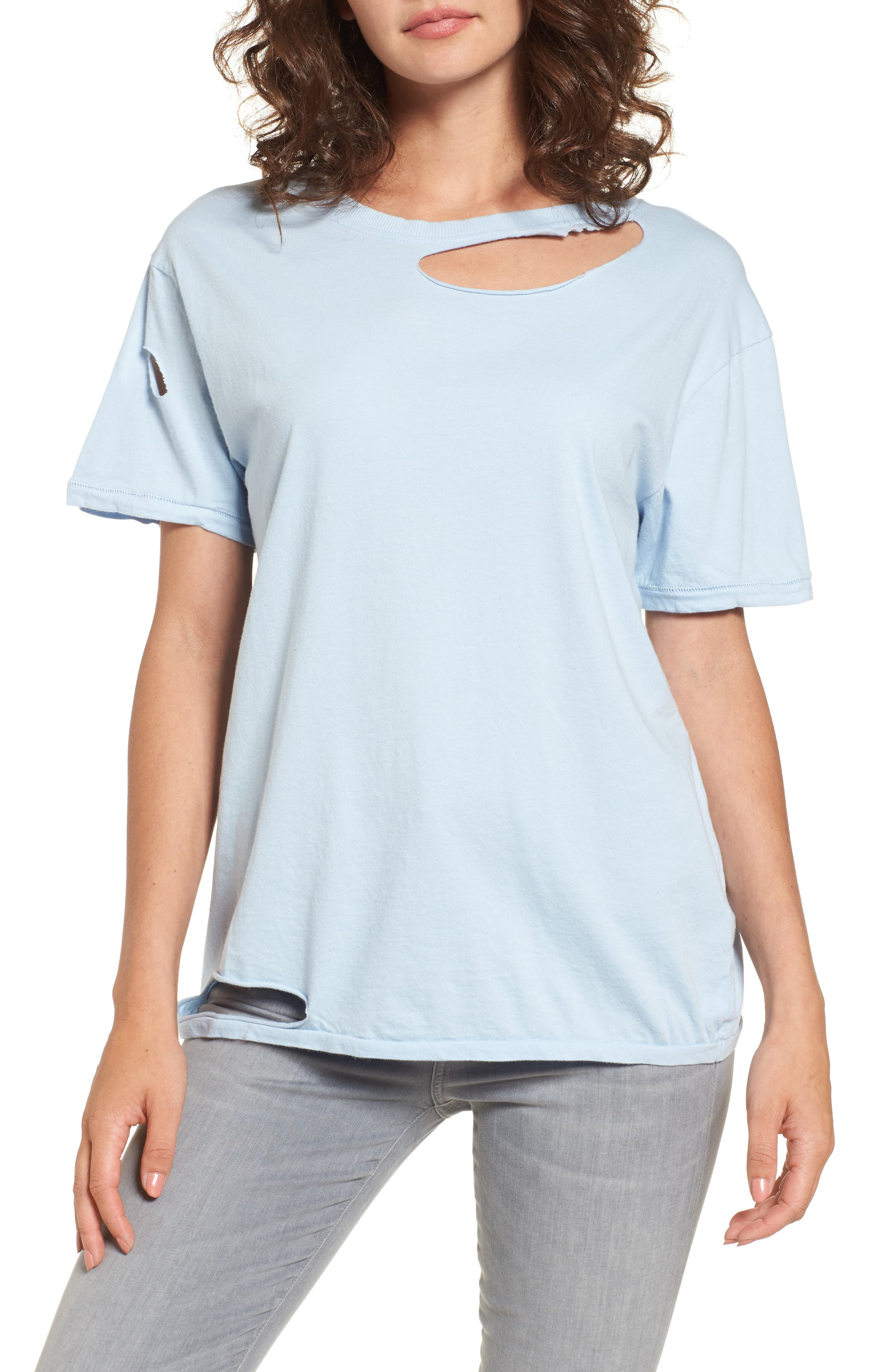 Topshop Ripped Cotton Tee