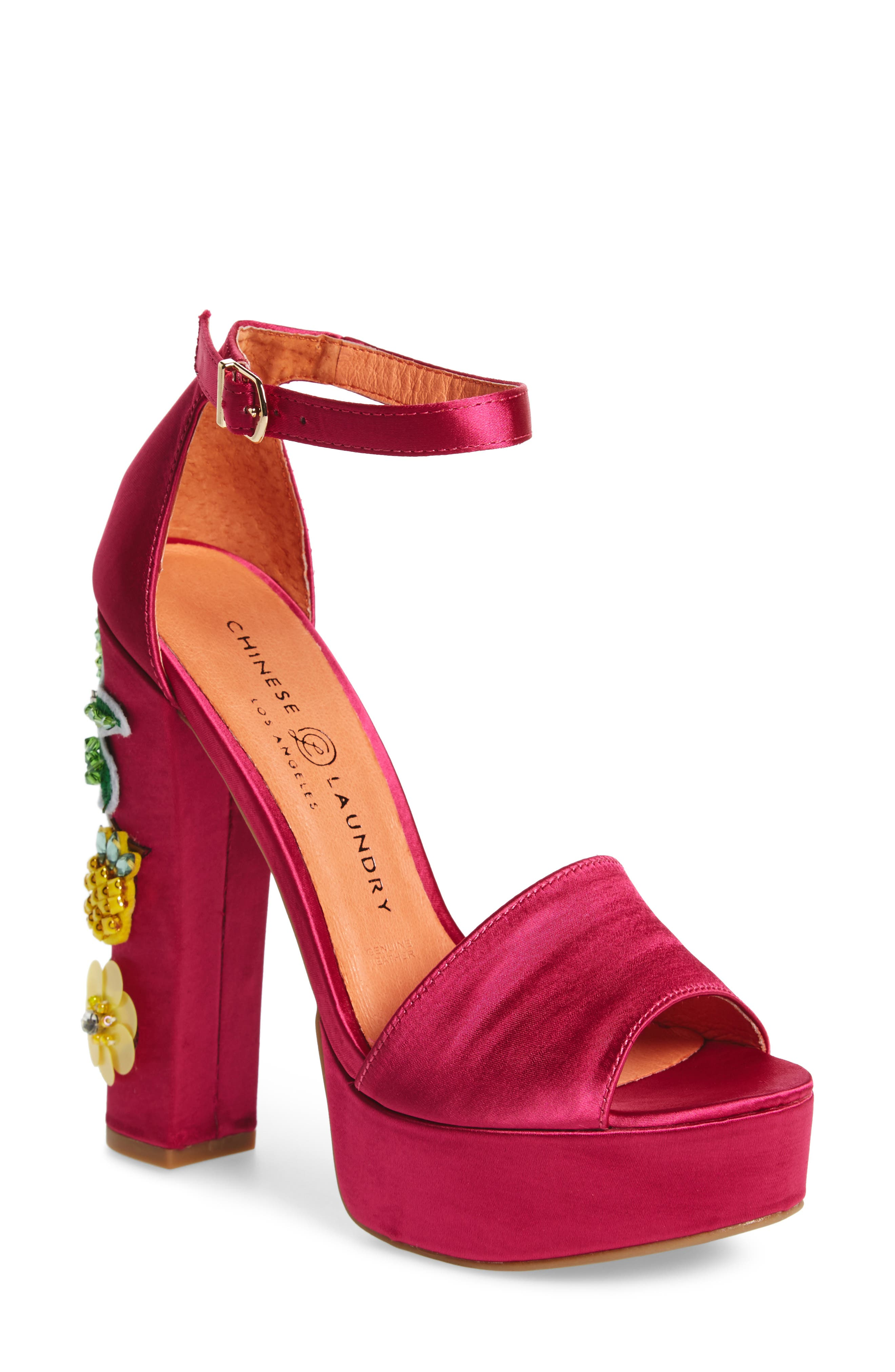 Aloha Embellished Platform Sandal,                         Main,                         color, Hot Pink