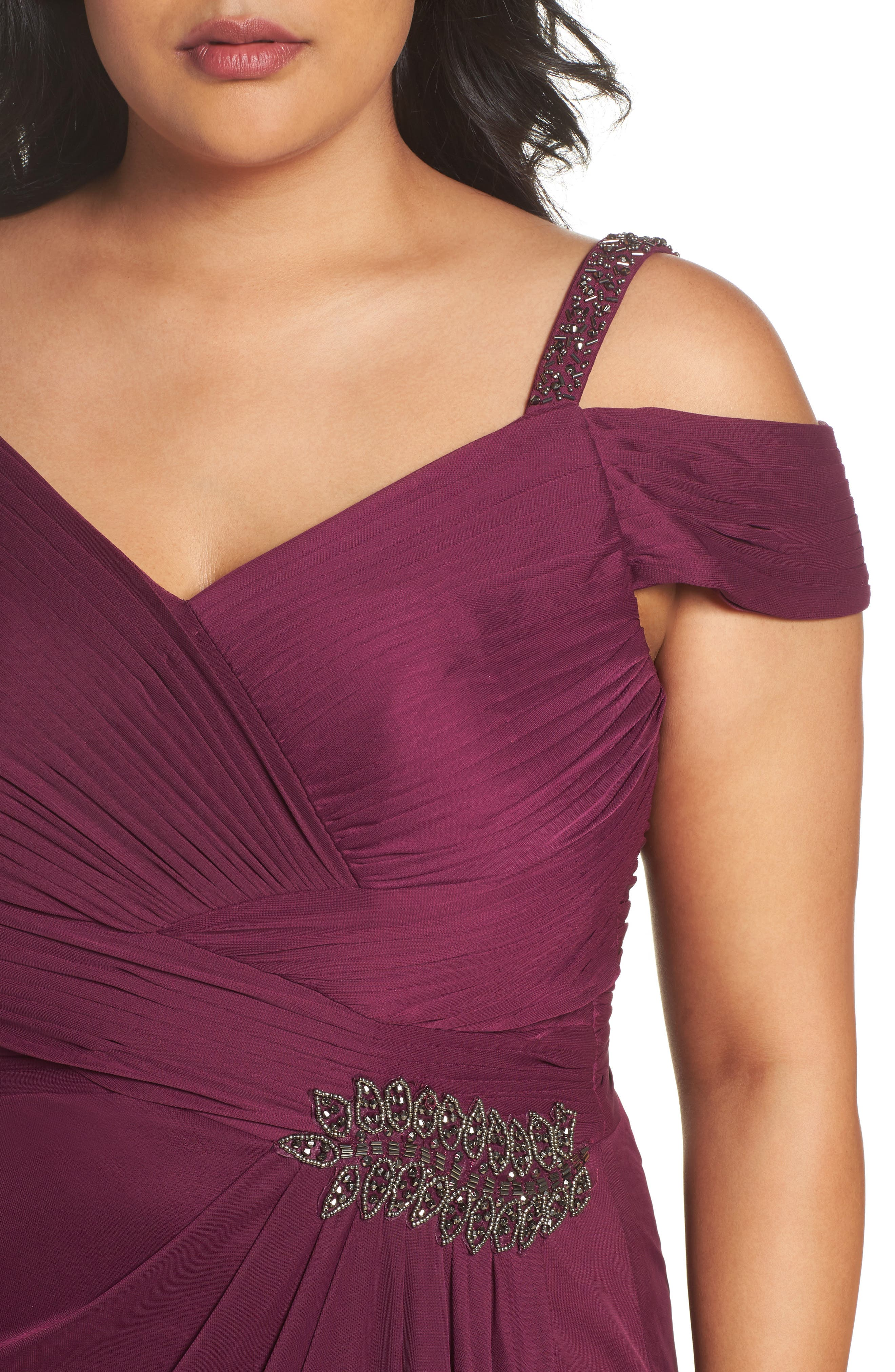 Alternate Image 4  - Alex Evenings Embellished Cold Shoulder Gown (Plus Size)