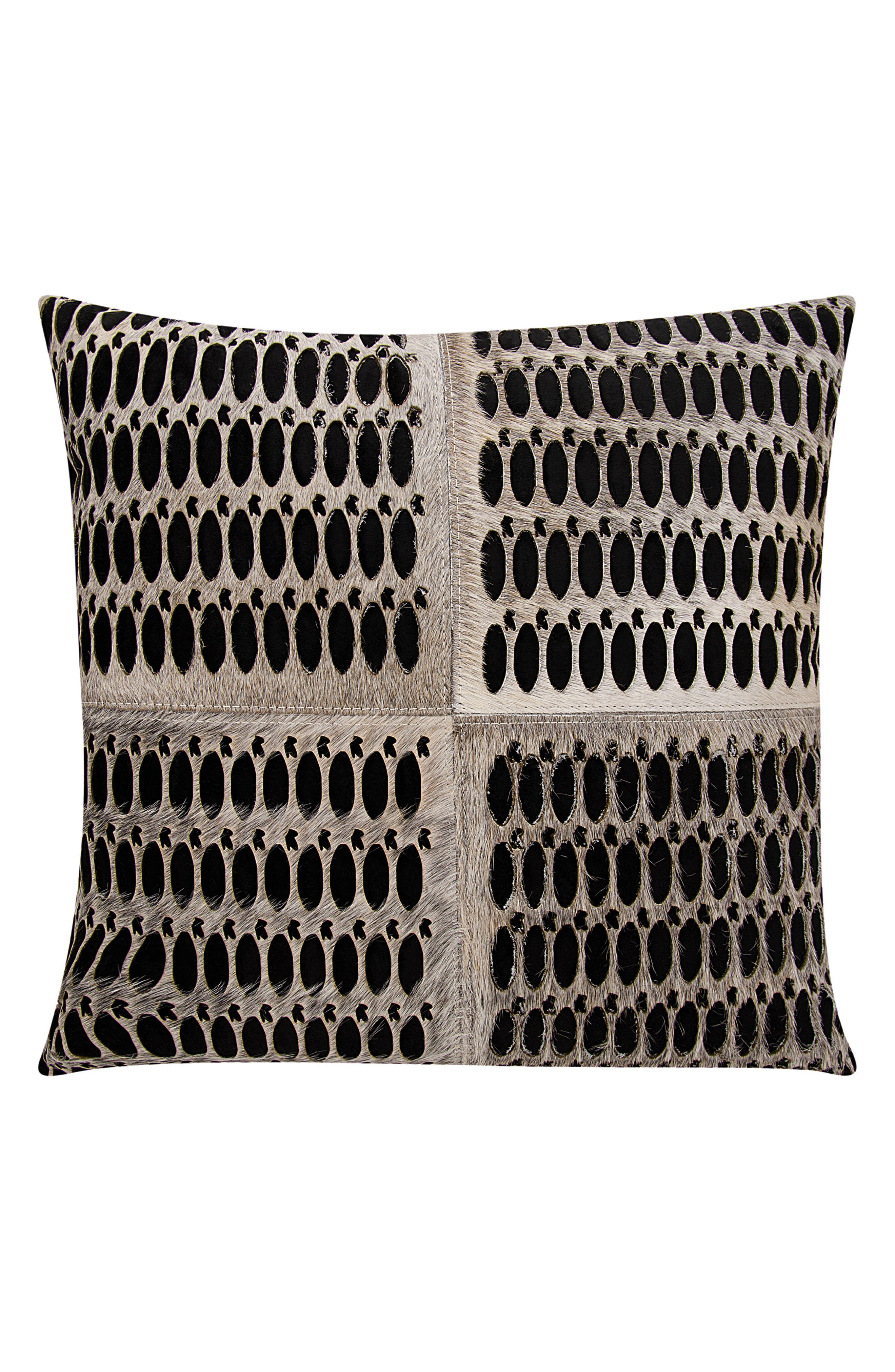 Calf Hair Accent Pillow,                         Main,                         color, Grey