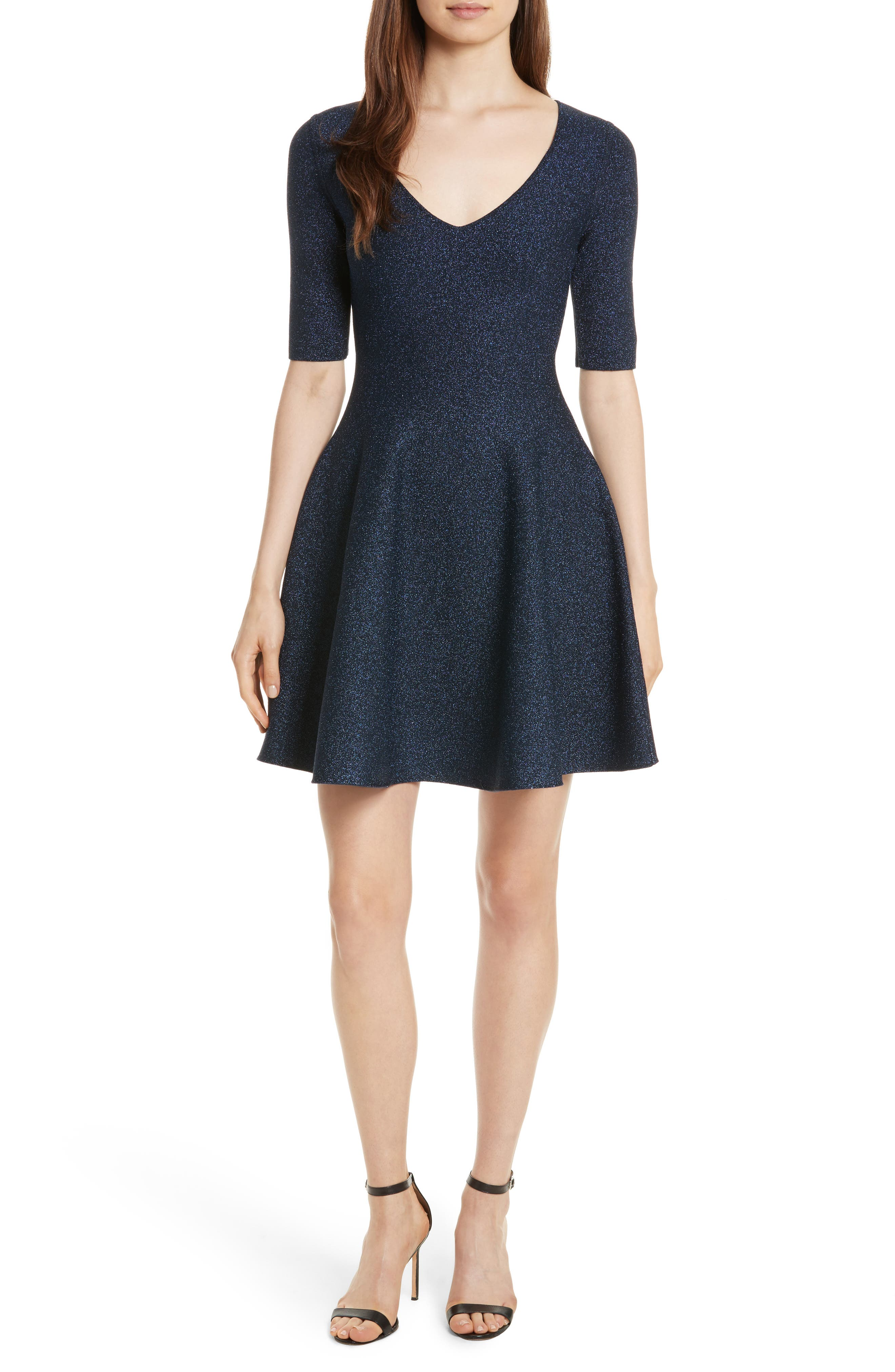 Metallic Double Knit Fit & Flare Dress,                         Main,                         color, Navy