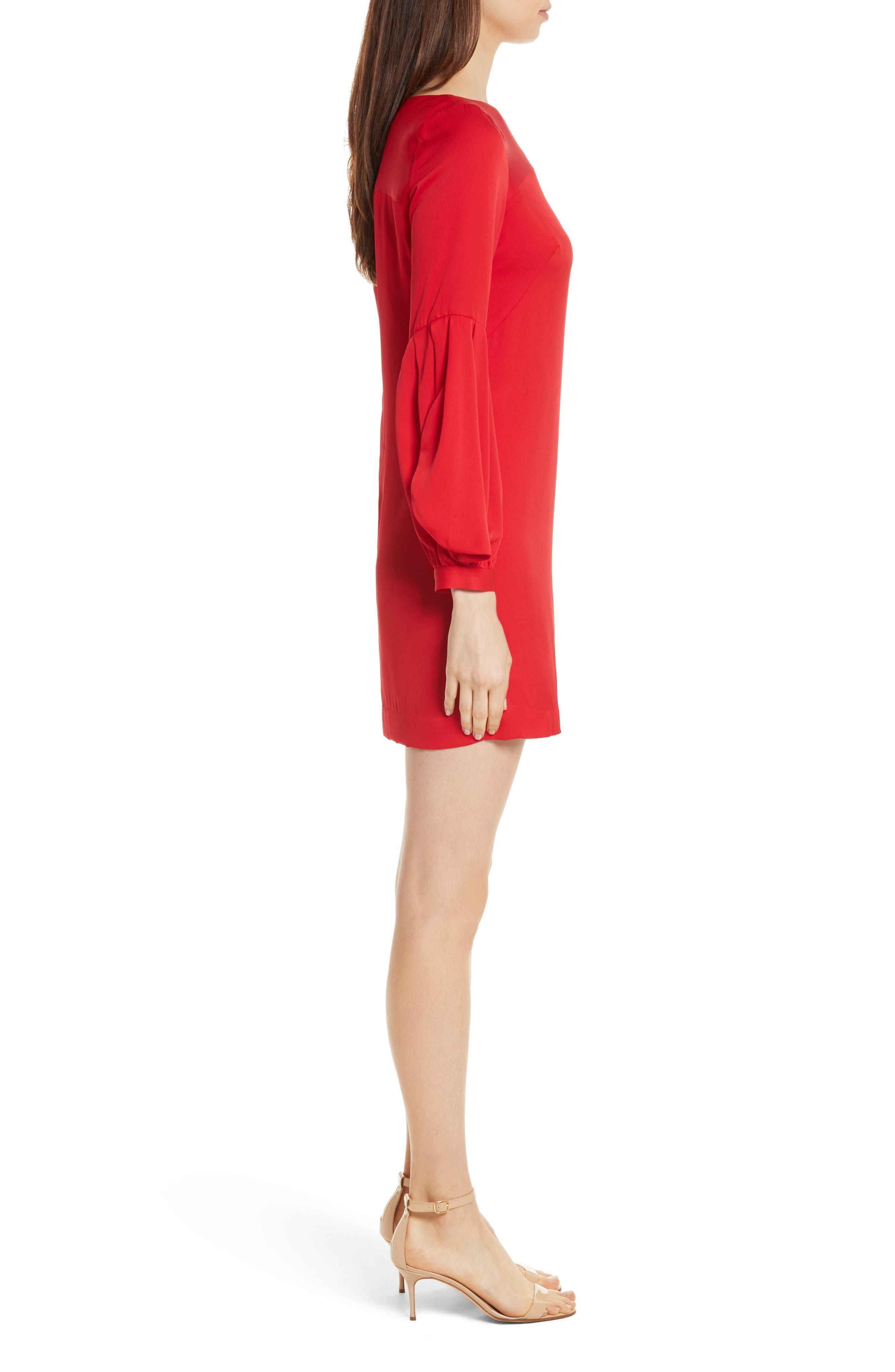 Shana Stretch Silk Bishop Sleeve Dress,                             Alternate thumbnail 3, color,                             Lipstick
