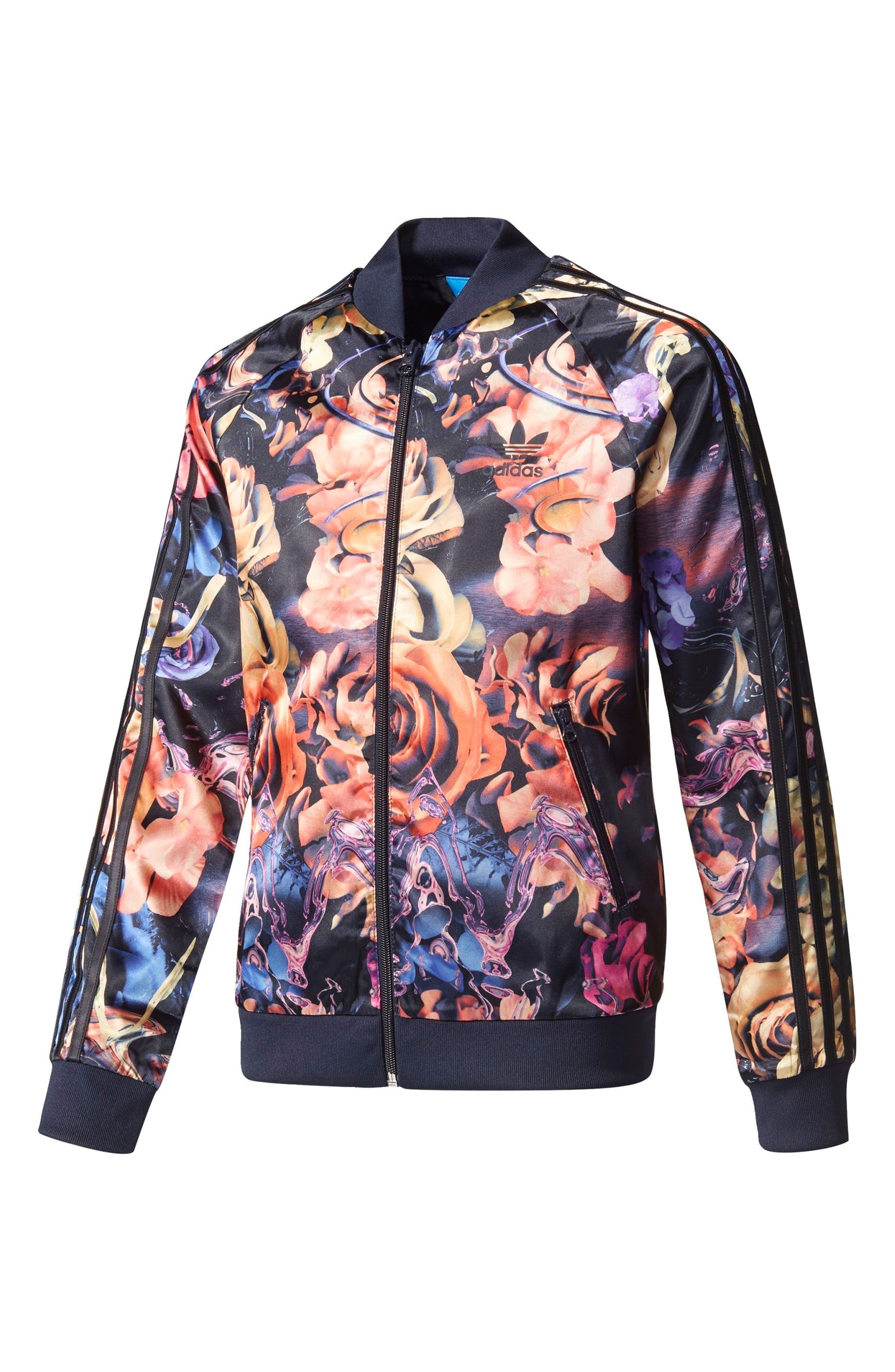 Alternate Image 1 Selected - adidas Originals Rose Print Superstar Jacket (Big Girls)