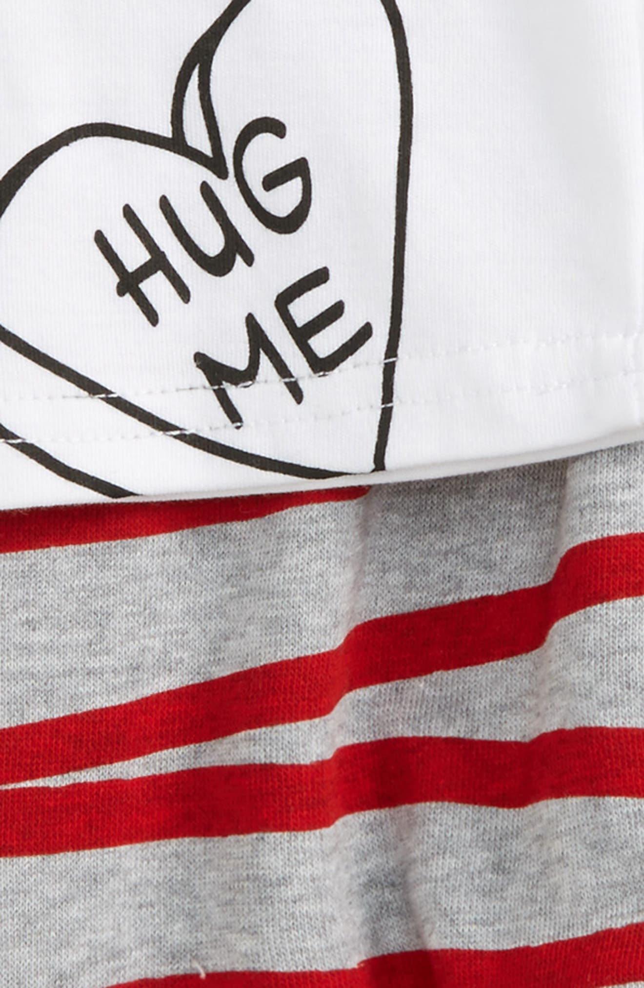 Be Mine Tee & Stripe Sweatpants Set,                             Alternate thumbnail 3, color,                             White/ Grey Marle