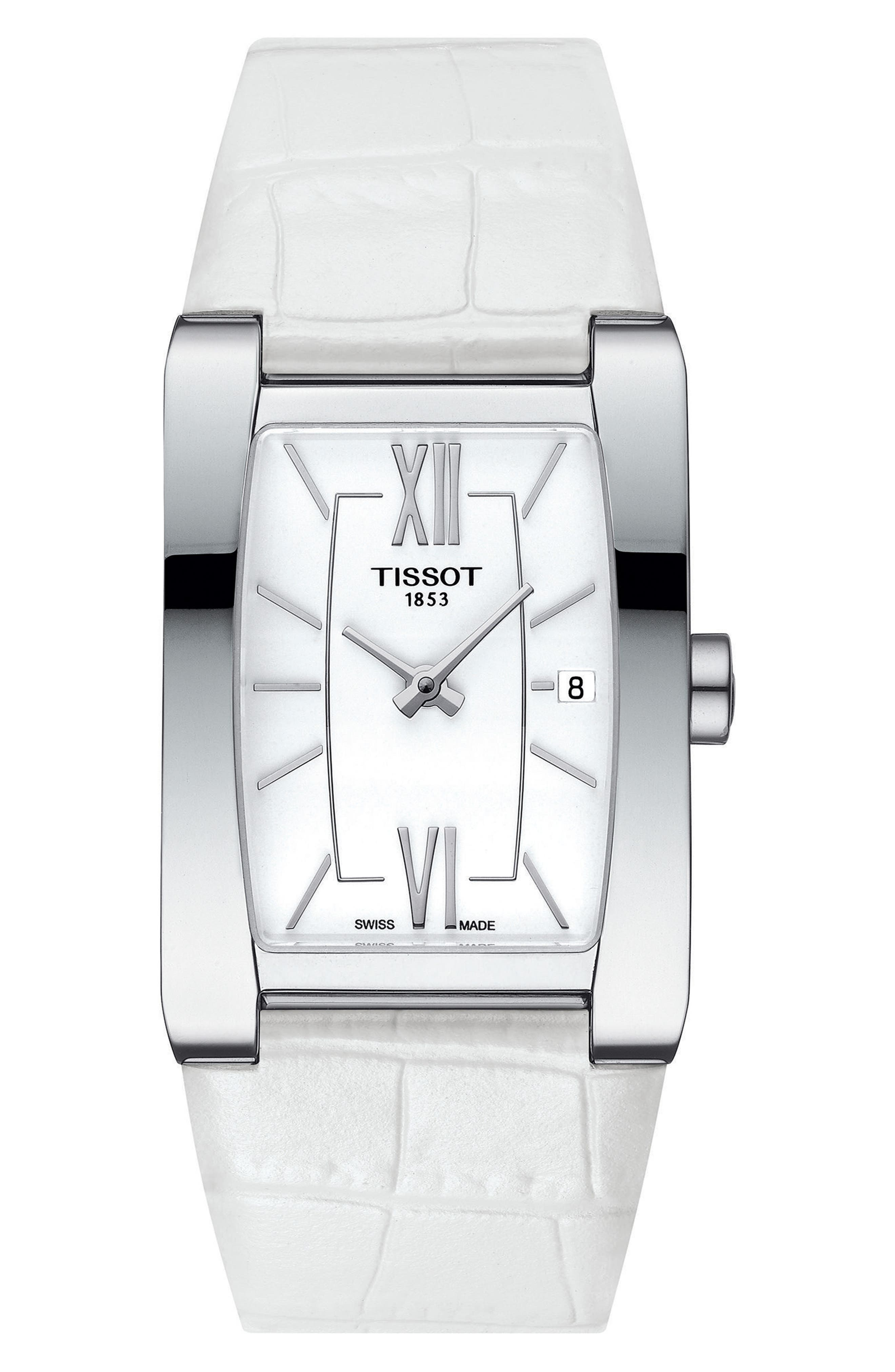 Generosi-T Rectangular Leather Strap Watch, 27mm x 24mm,                             Main thumbnail 1, color,                             White/ Silver