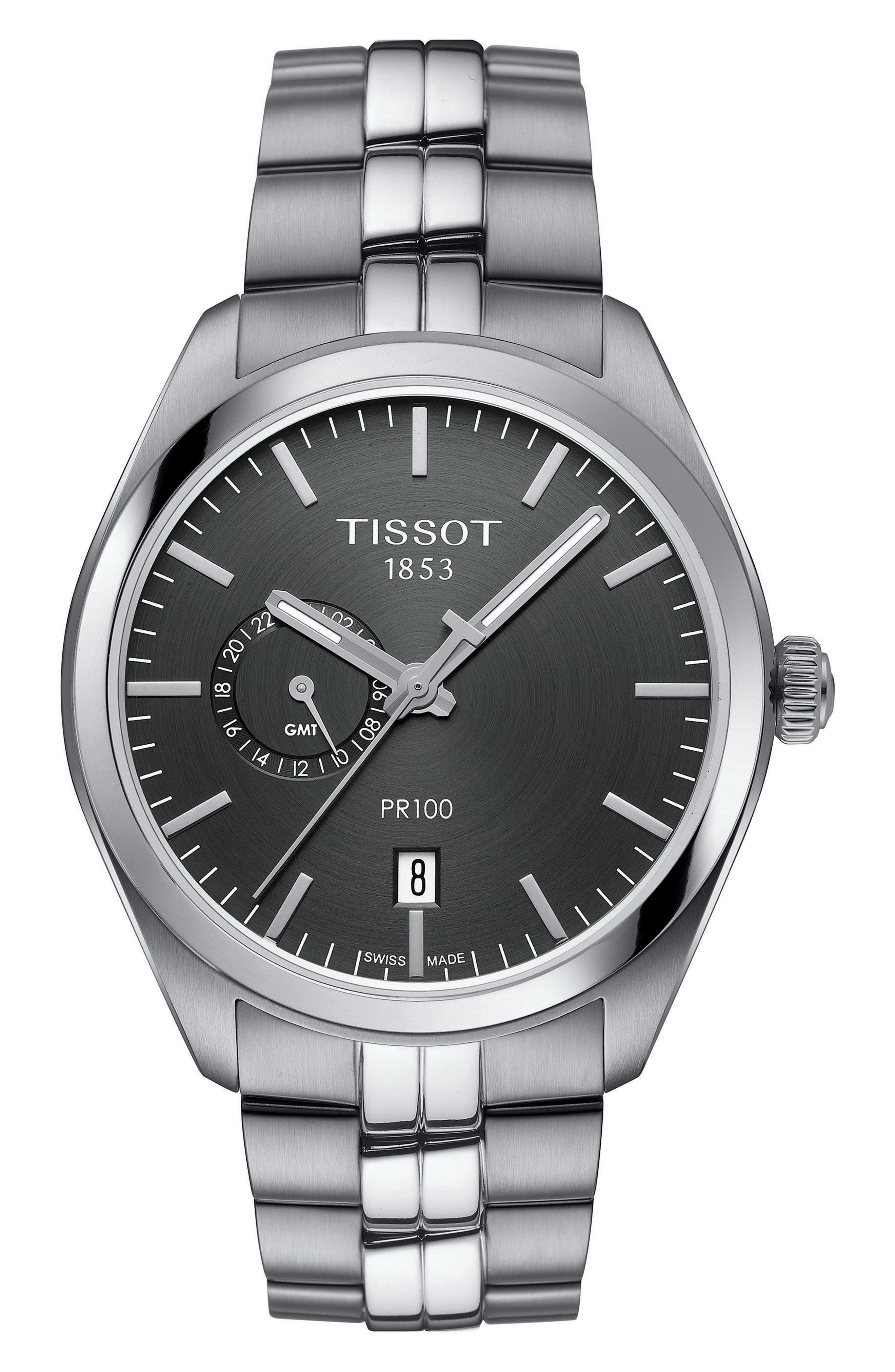 PR100 Bracelet Watch, 39mm,                         Main,                         color, Silver/ Anthracite/ Silver