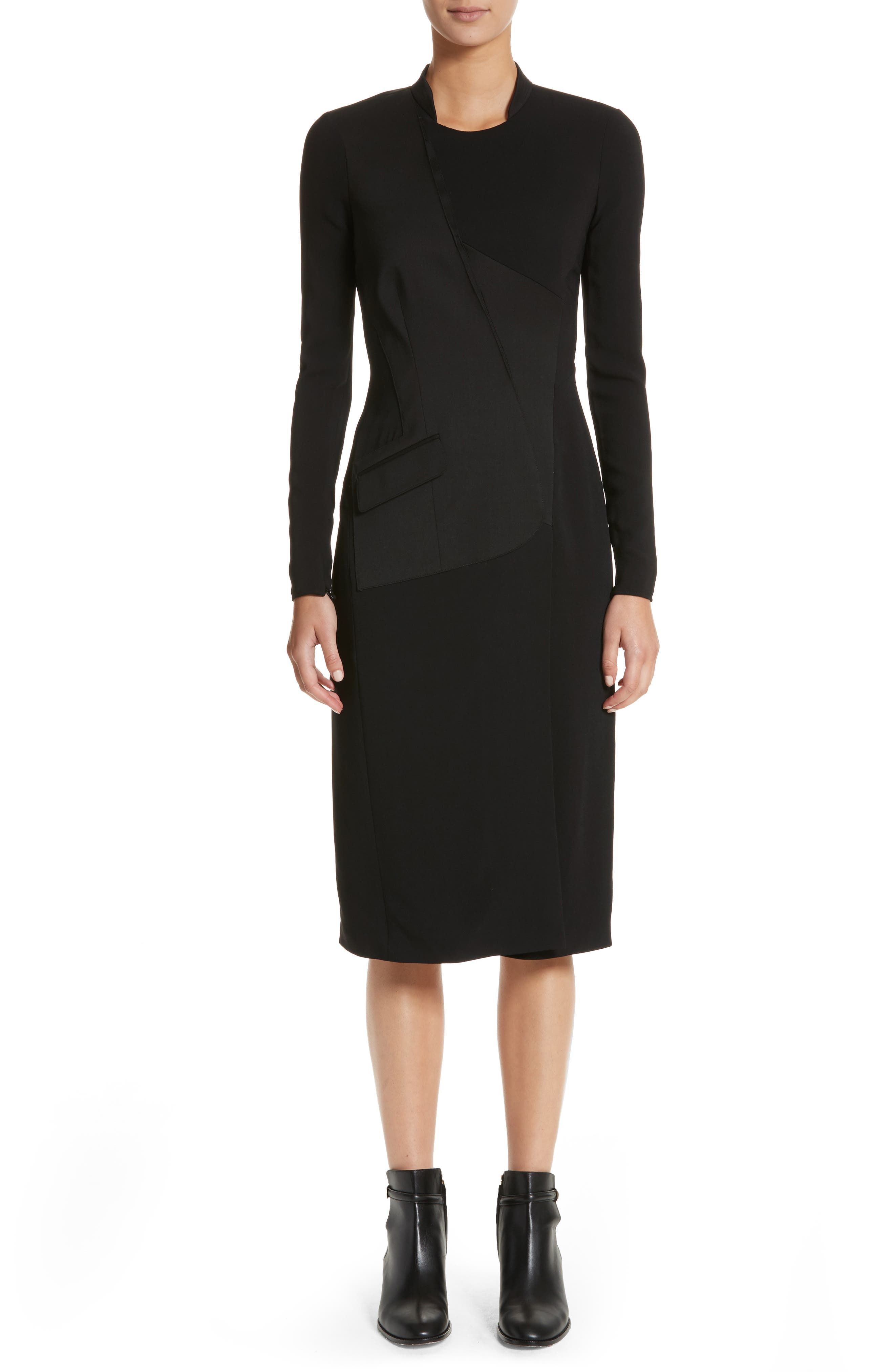 Miriam Sheath Dress,                             Main thumbnail 1, color,                             Black