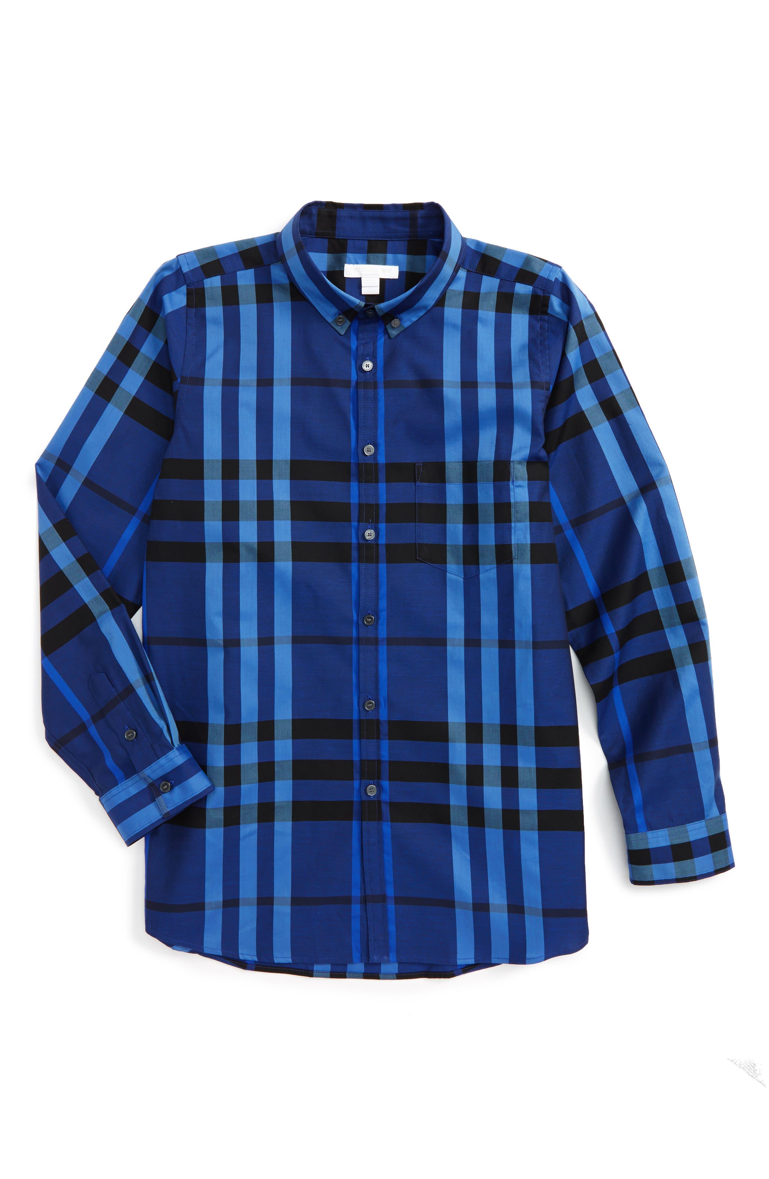 Main Image - Burberry Mini Fred Check Woven Shirt (Little Boys & Big Boys)