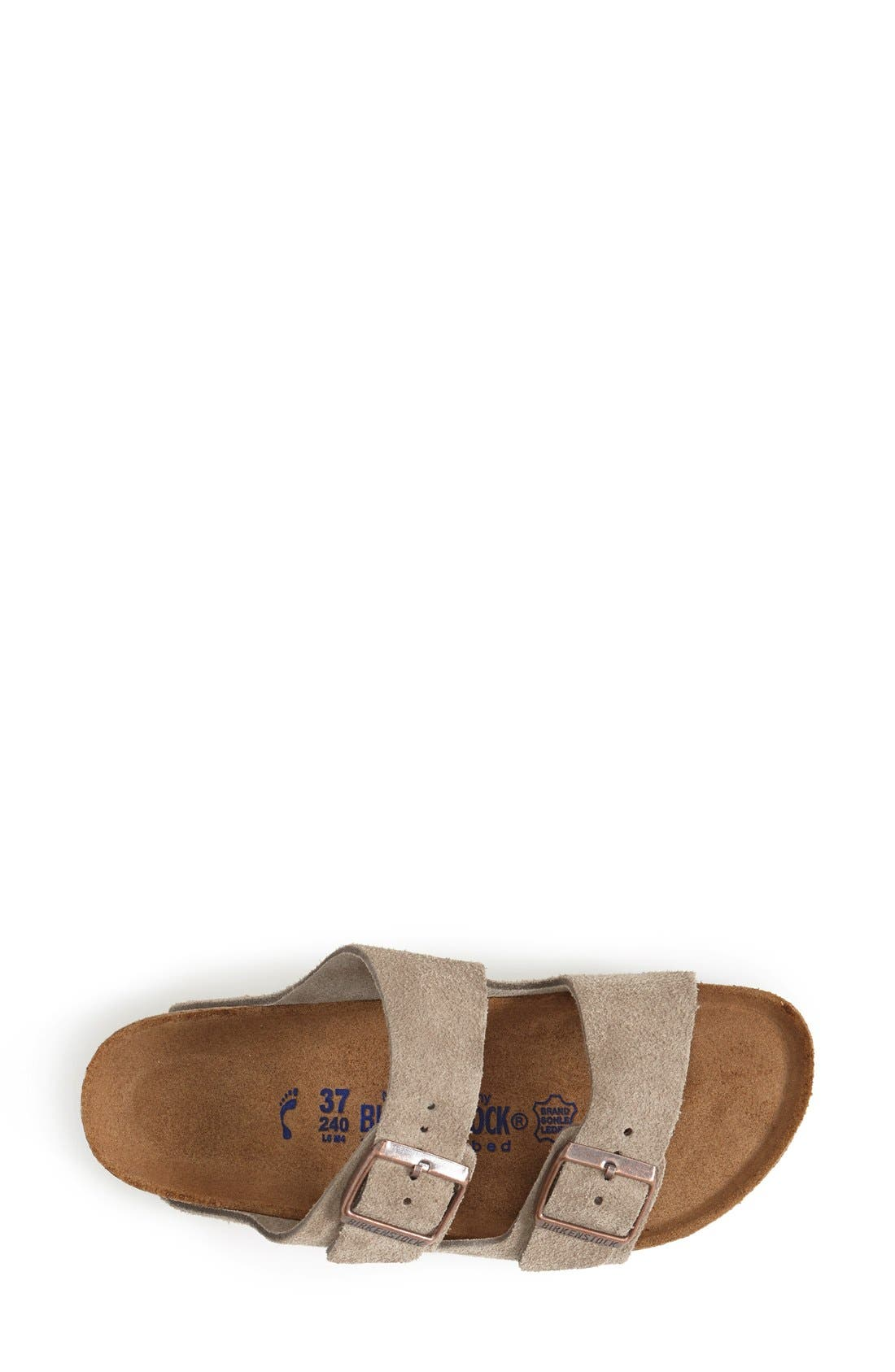 'Arizona' Soft Footbed Suede Sandal,                             Alternate thumbnail 3, color,                             Taupe Suede