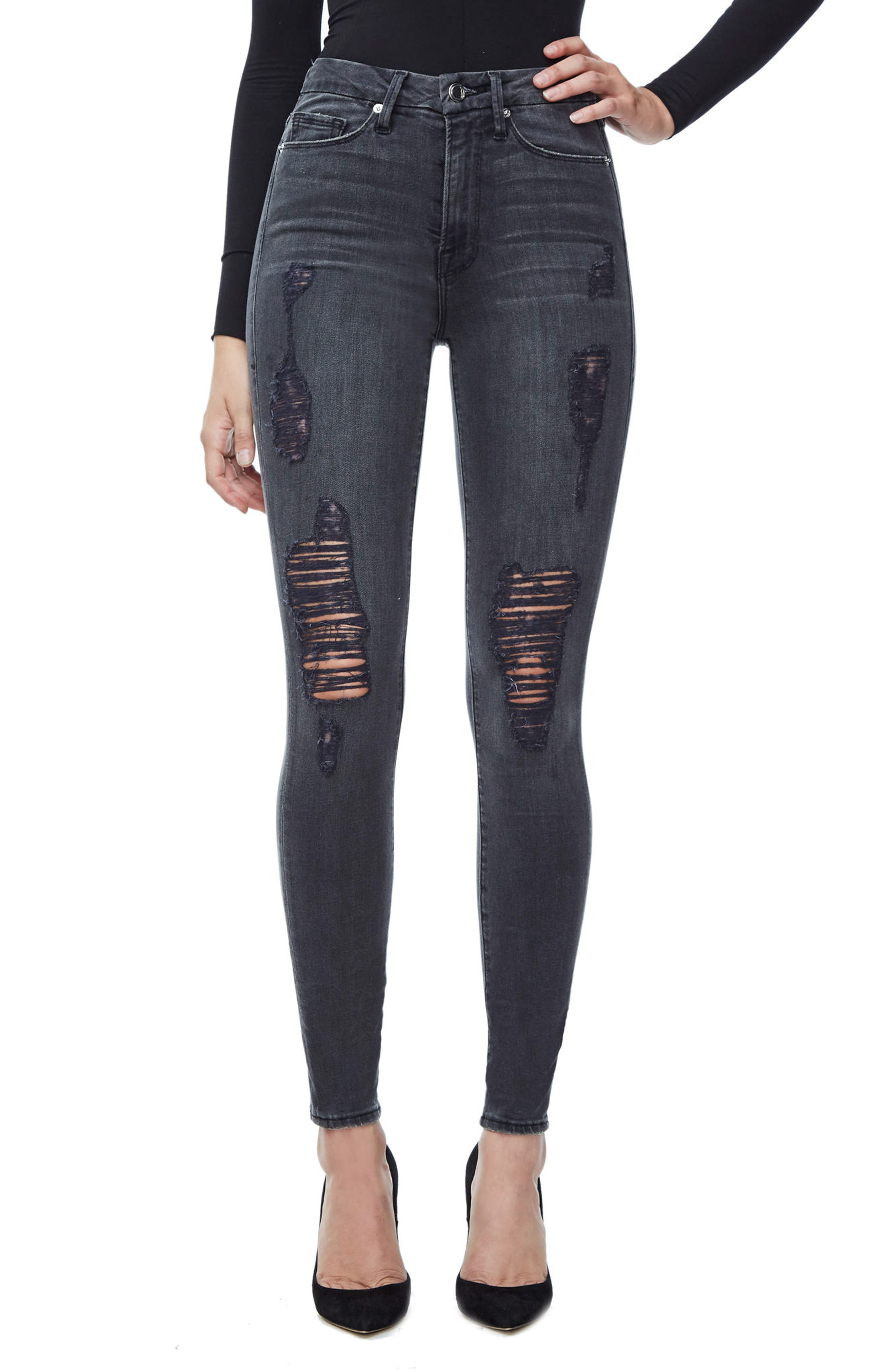 Good Waist High Waist Ripped Skinny Jeans,                         Main,                         color, Black 009