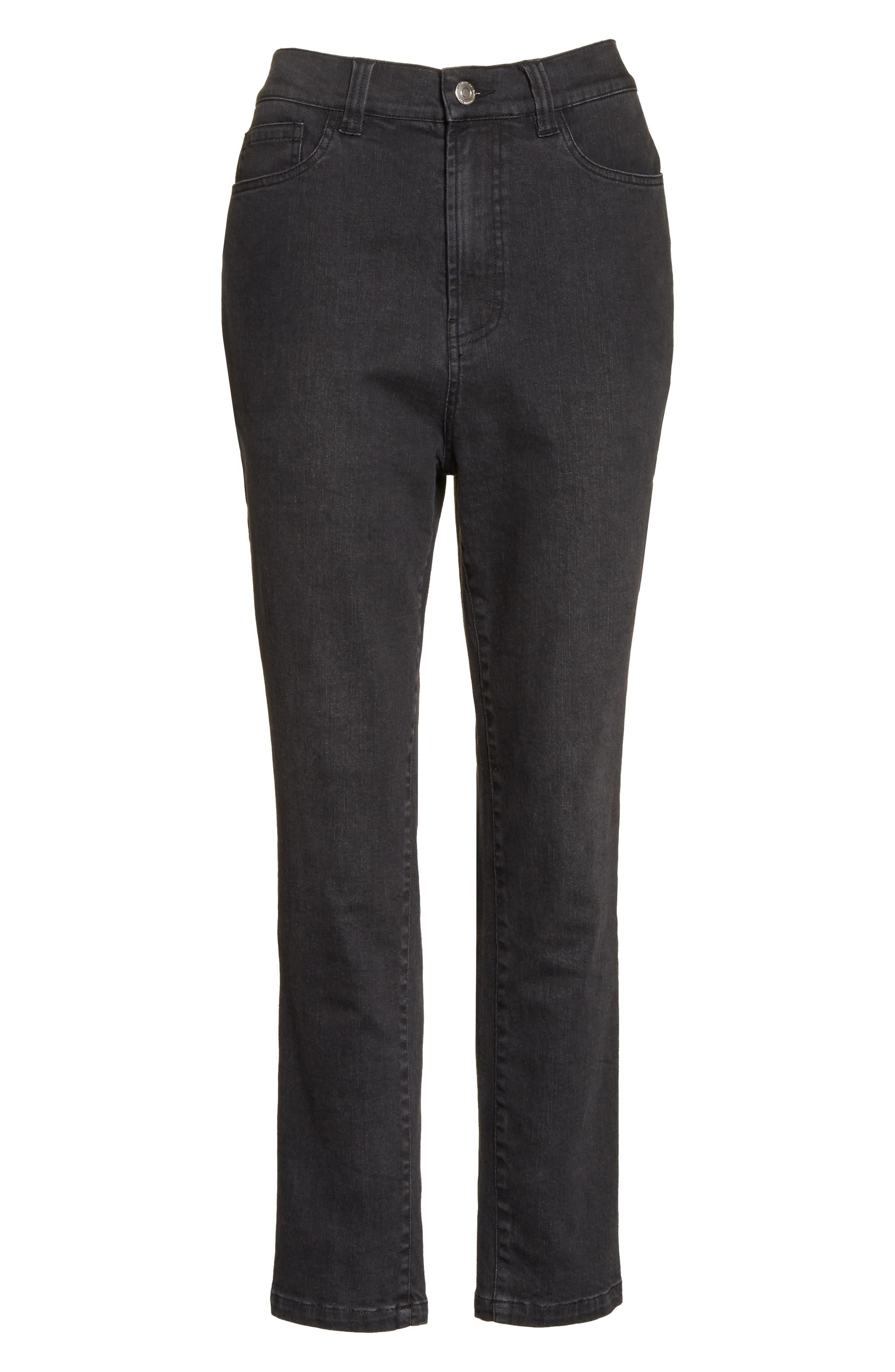 High Waist Slim Jeans,                             Alternate thumbnail 7, color,                             Black Rinse
