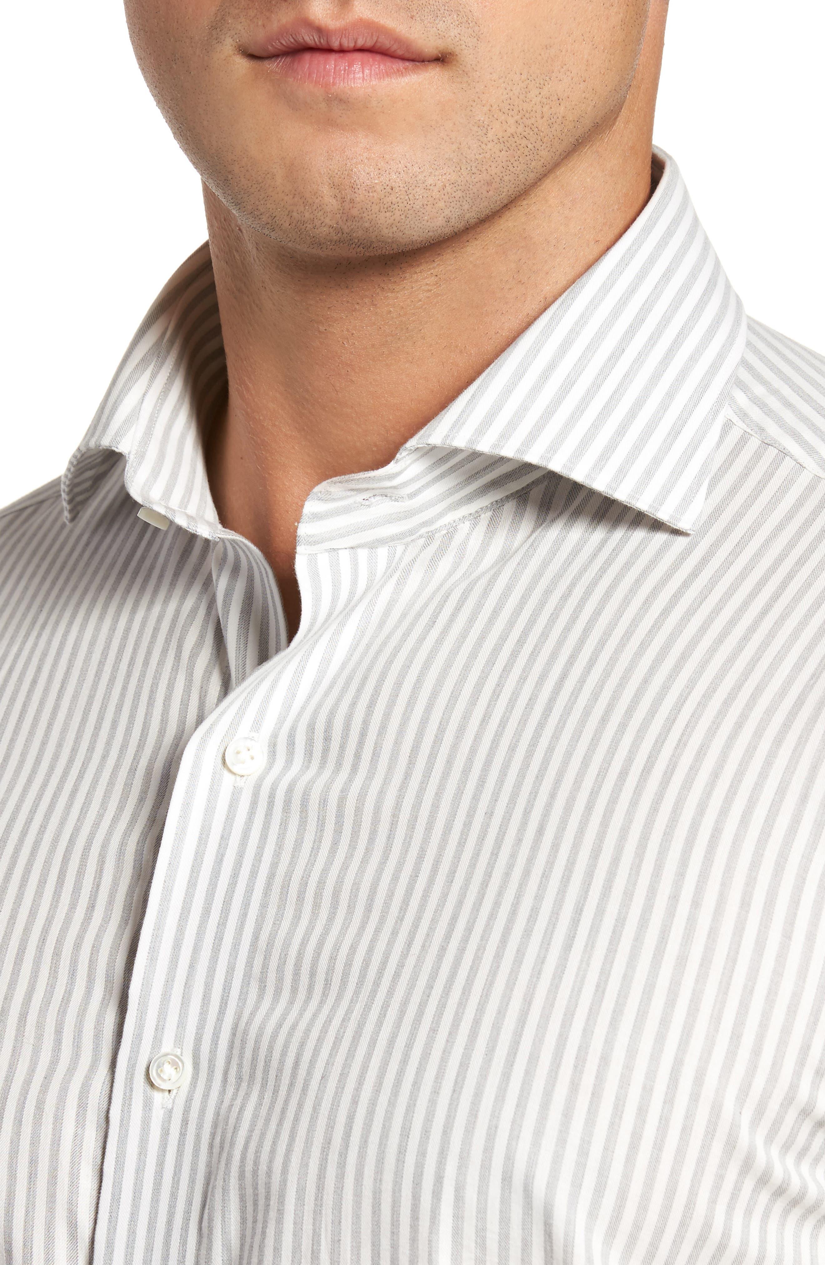 Loch Mélange Stripe Sport Shirt,                             Alternate thumbnail 4, color,                             Argento