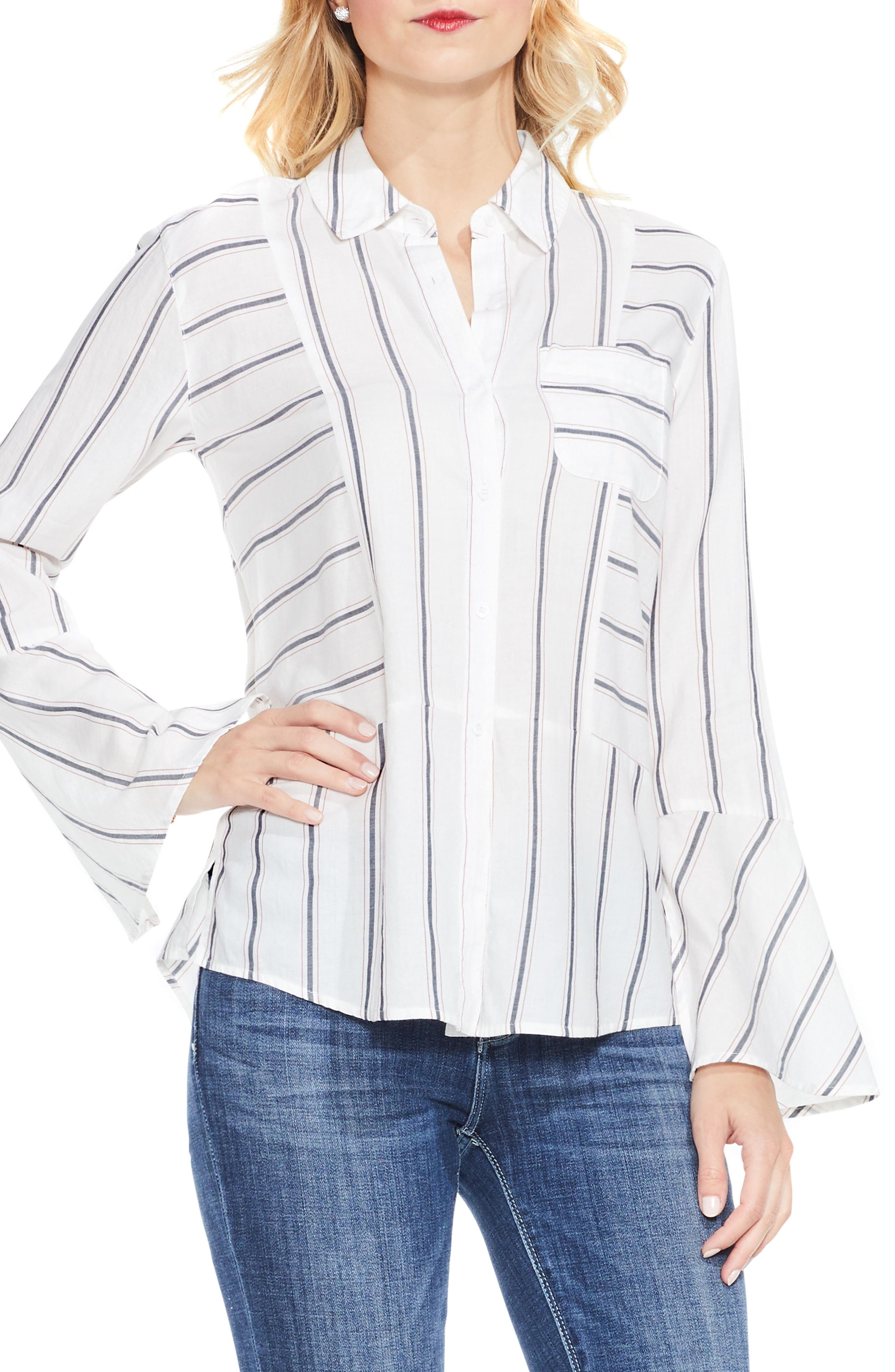 Two by Vince Camuto Bell Sleeve Stripe Shirt