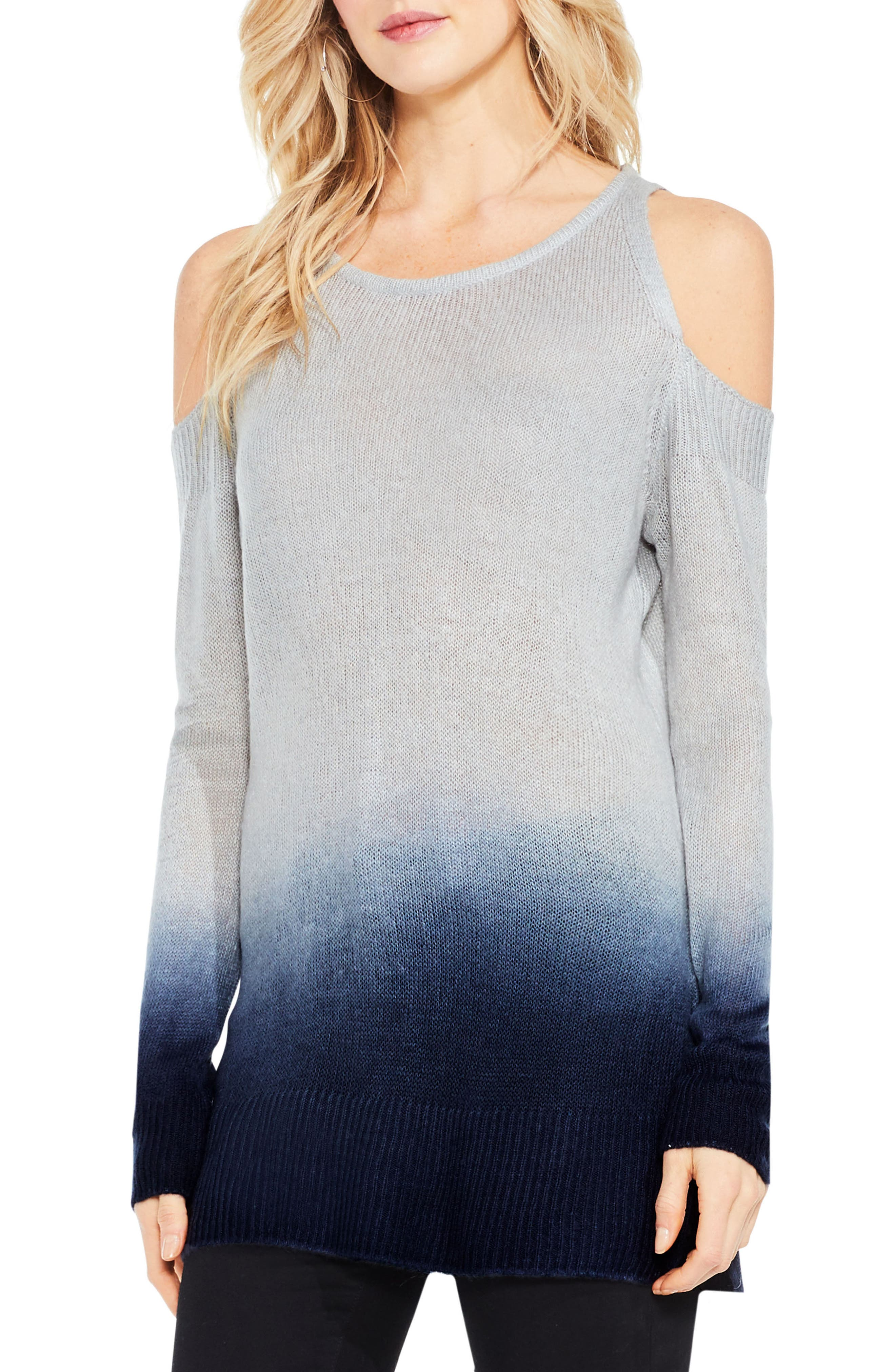 Alternate Image 1 Selected - Two by Vince Camuto Cold Shoulder Ombré Sweater