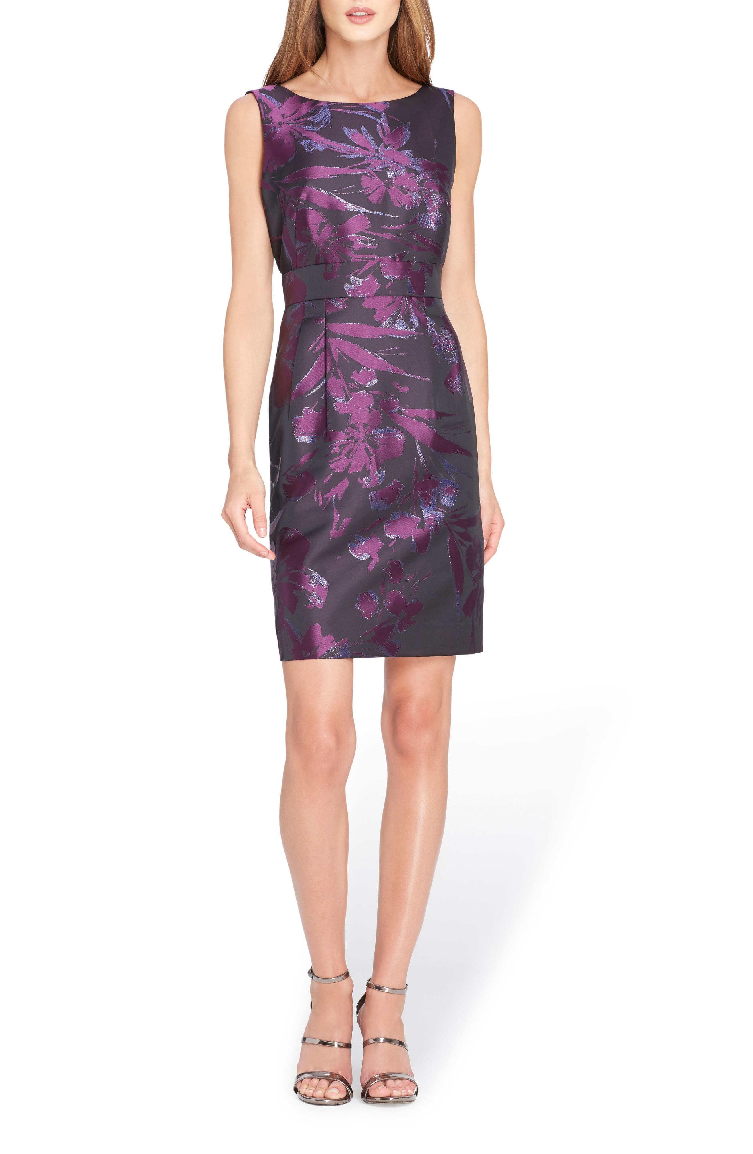 Metallic Jacquard Sheath Dress,                             Main thumbnail 1, color,                             Black/ Plum/ Navy