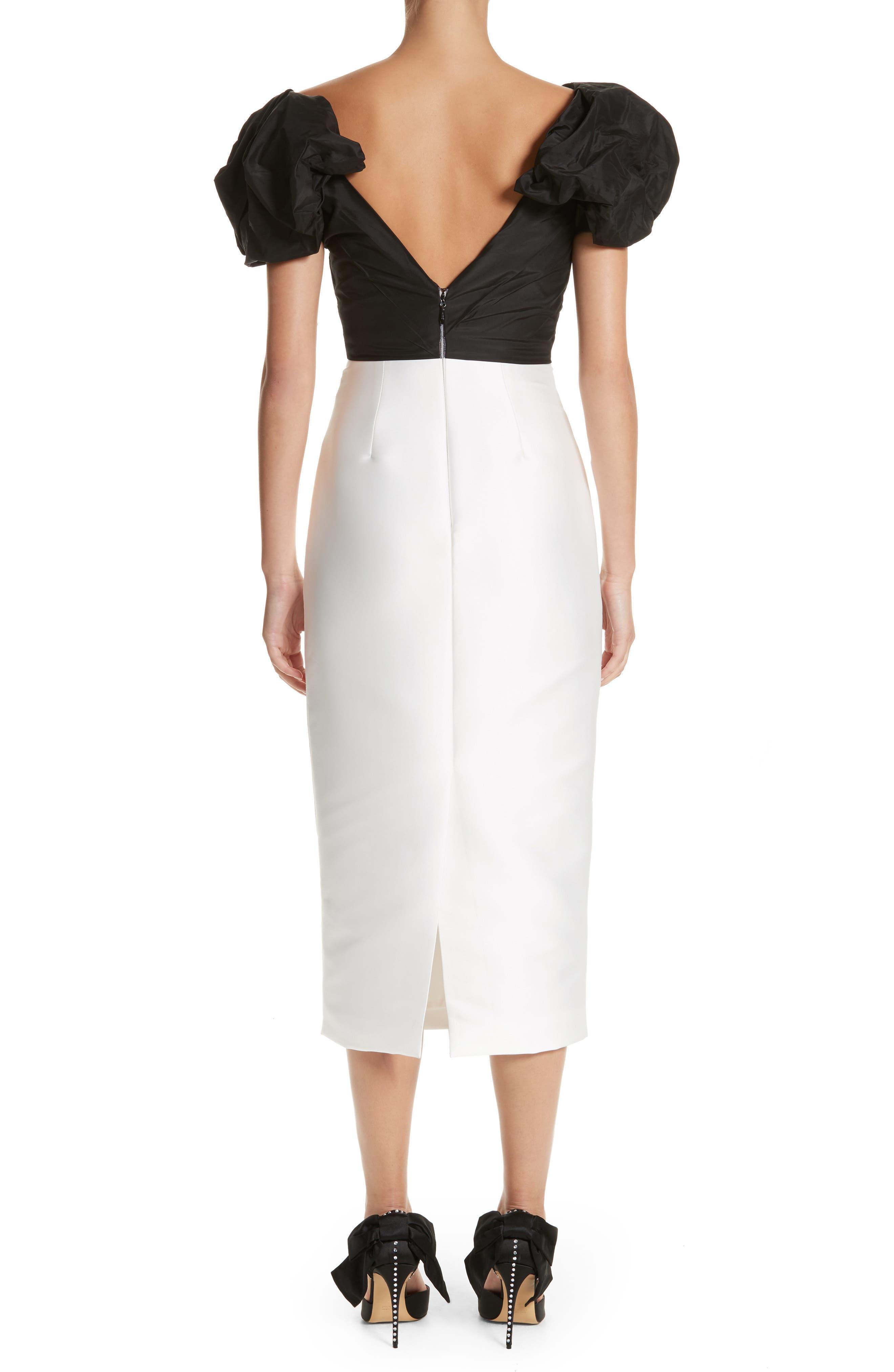 Alternate Image 2  - Monique Lhuillier Puff Sleeve Mikado Sheath Dress