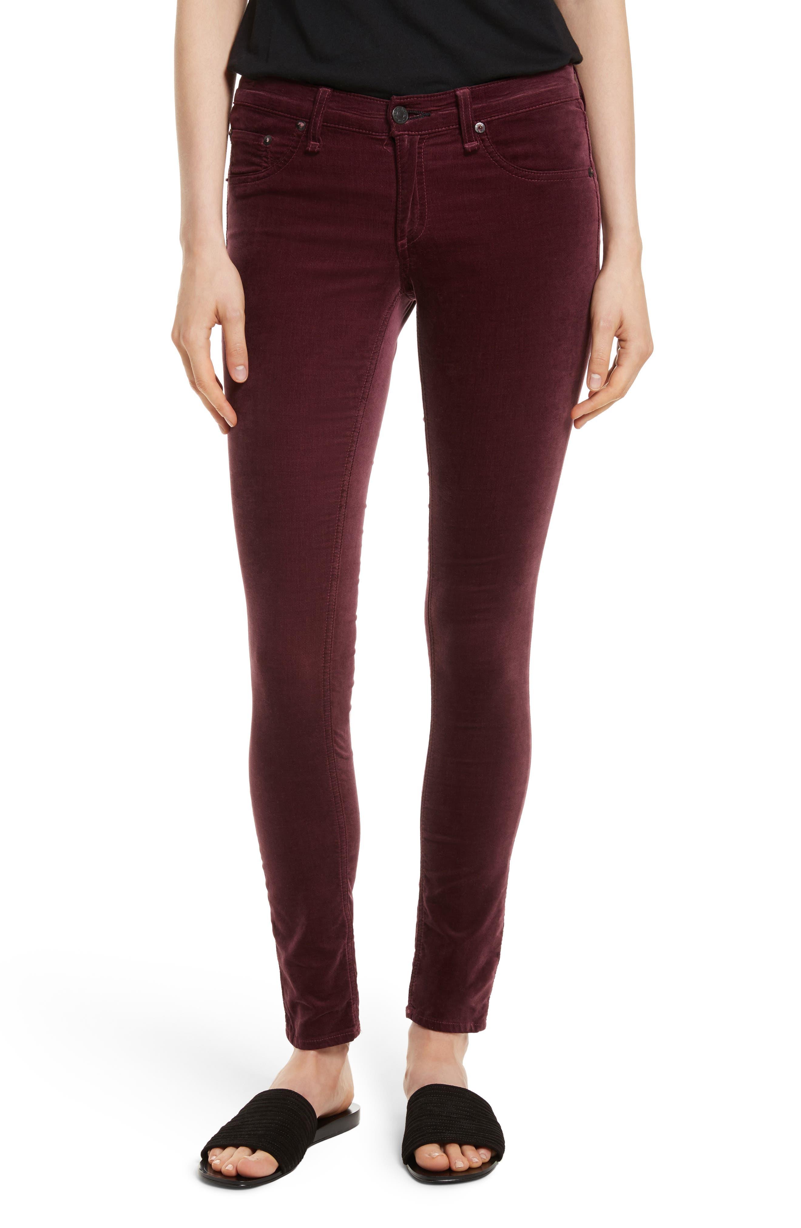 Alternate Image 1 Selected - rag & bone/JEAN Velvet Skinny Jeans