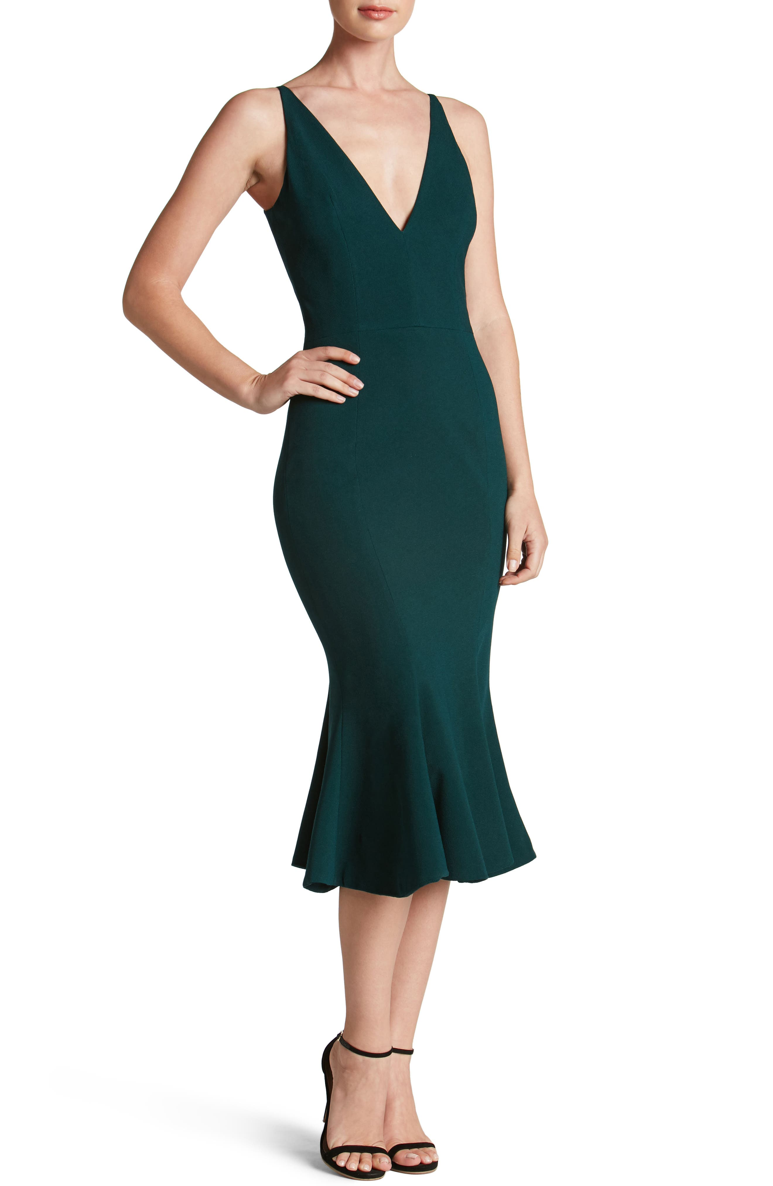 Isabelle Crepe Mermaid Dress,                         Main,                         color, Pine