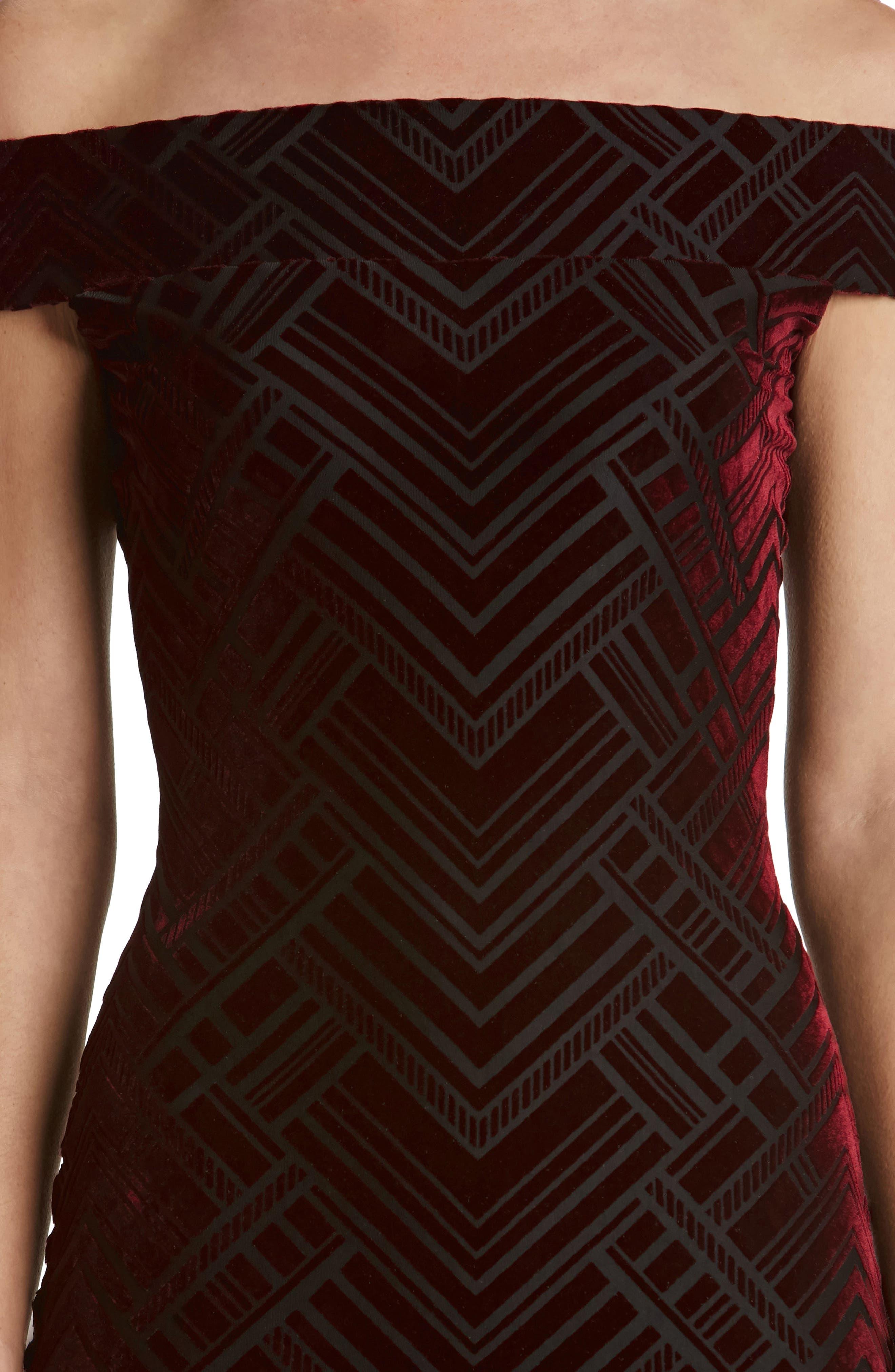 Eden Geo Print Velvet Off the Shoulder Dress,                             Alternate thumbnail 4, color,                             Burgundy/ Black