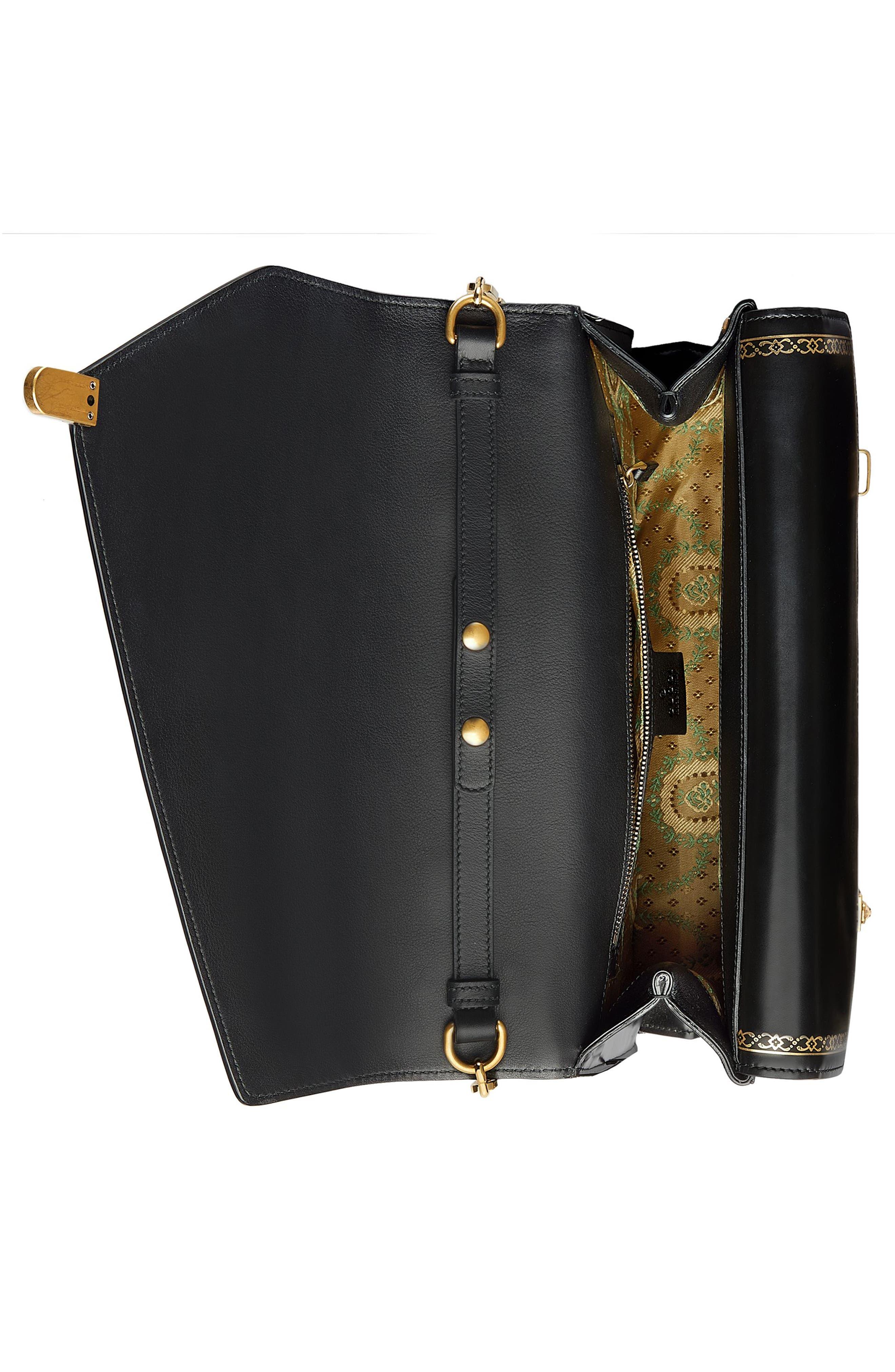 Linea P Border Leather Double Flap Top Handle Satchel,                             Alternate thumbnail 3, color,                             Nero