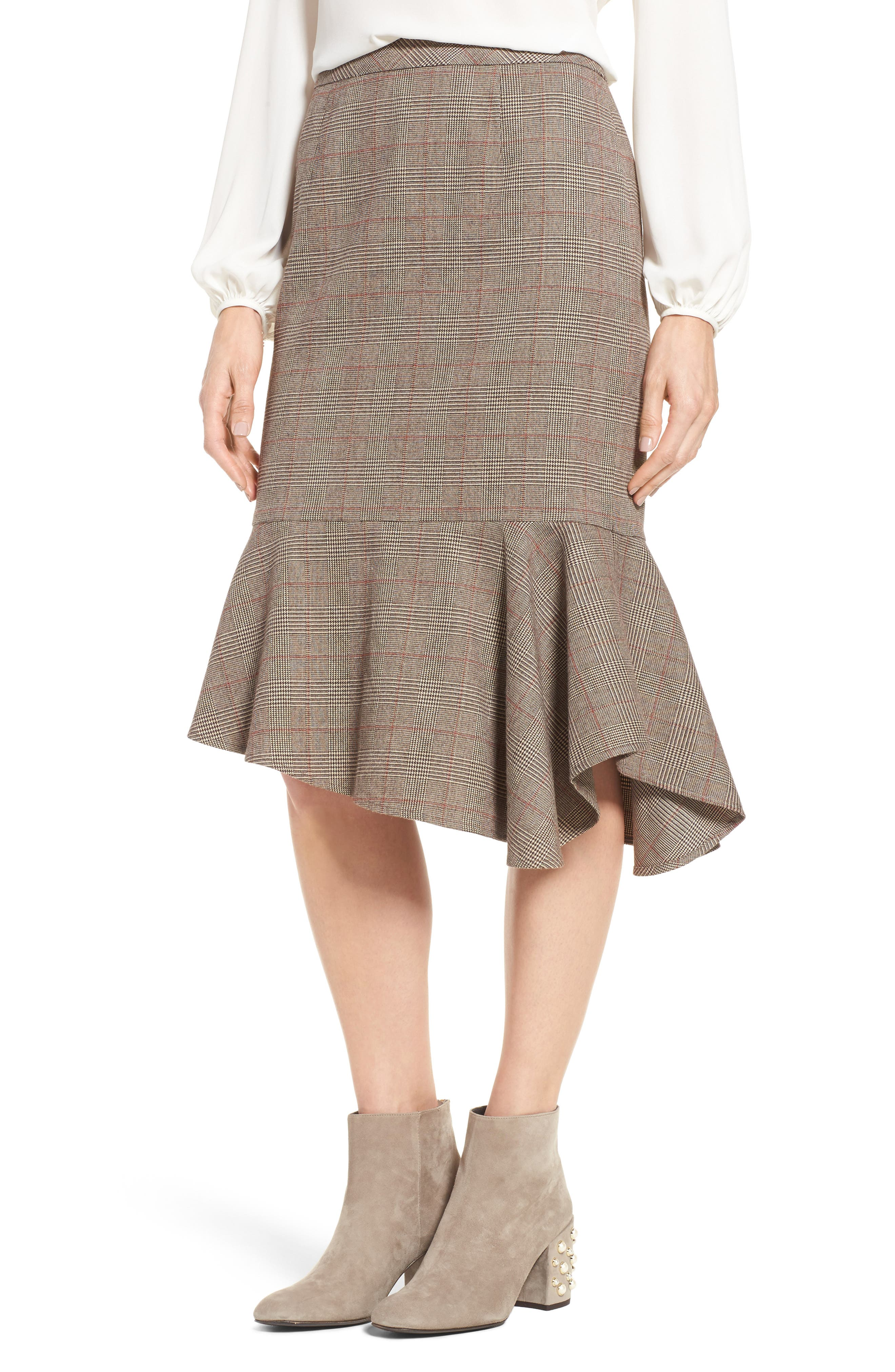 Alternate Image 1 Selected - Halogen® Asymmetrical Ruffle Hem Skirt (Regular & Petite)