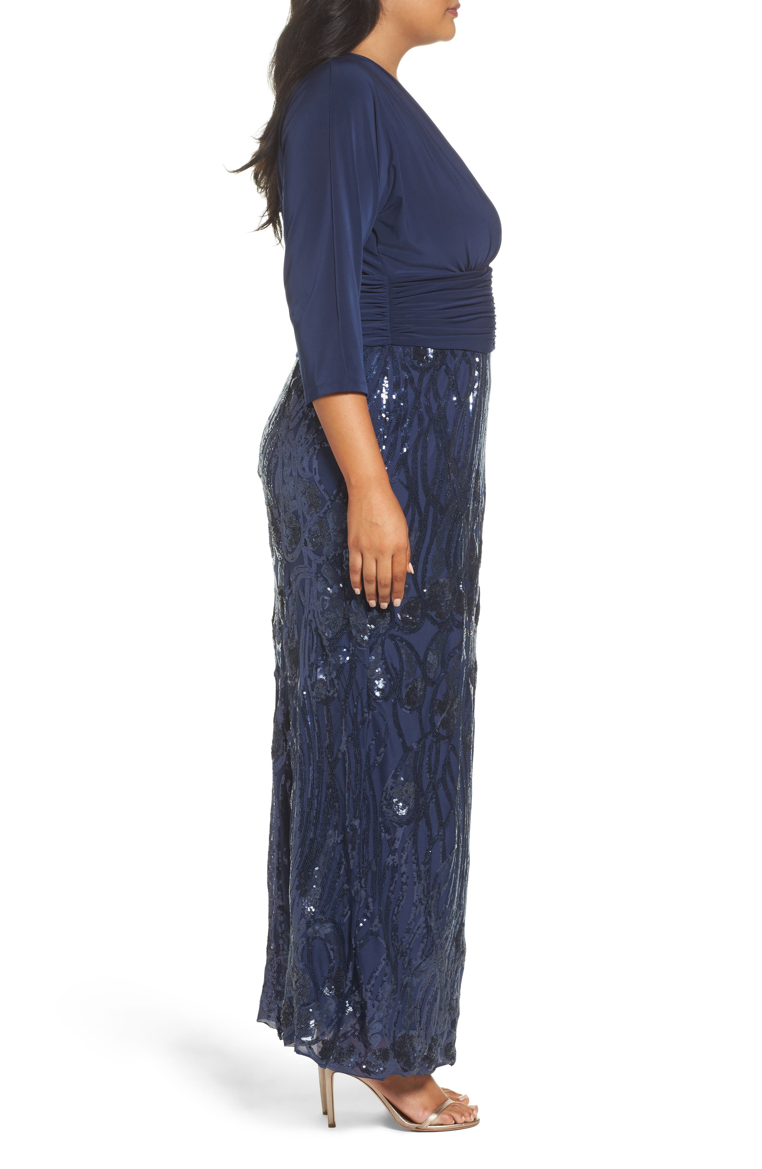 Embellished Shirred Waist Gown,                             Alternate thumbnail 3, color,                             Navy