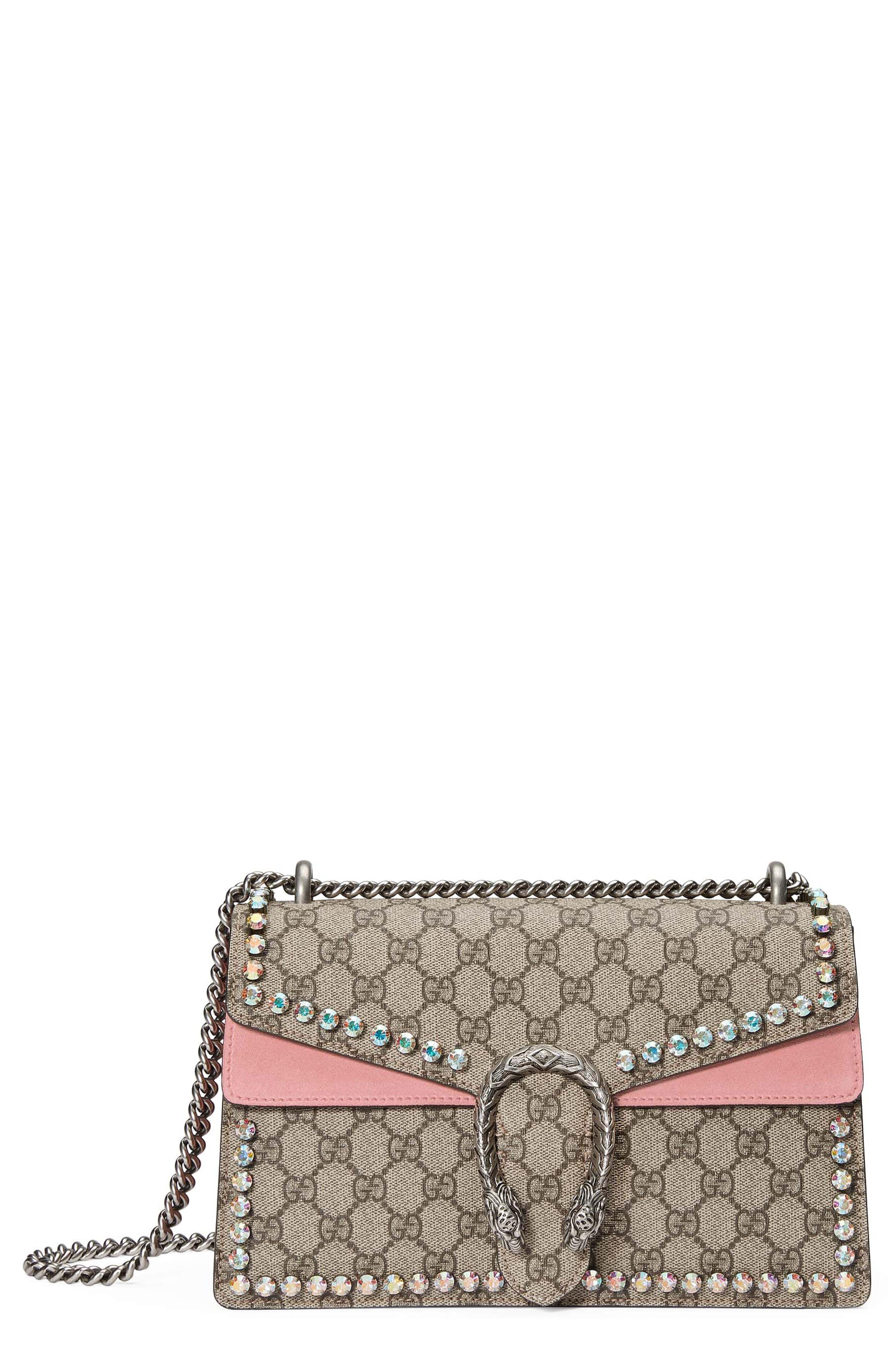 Gucci Small Dionysus Crystal Embellished GG Supreme Canvas & Suede Shoulder Bag