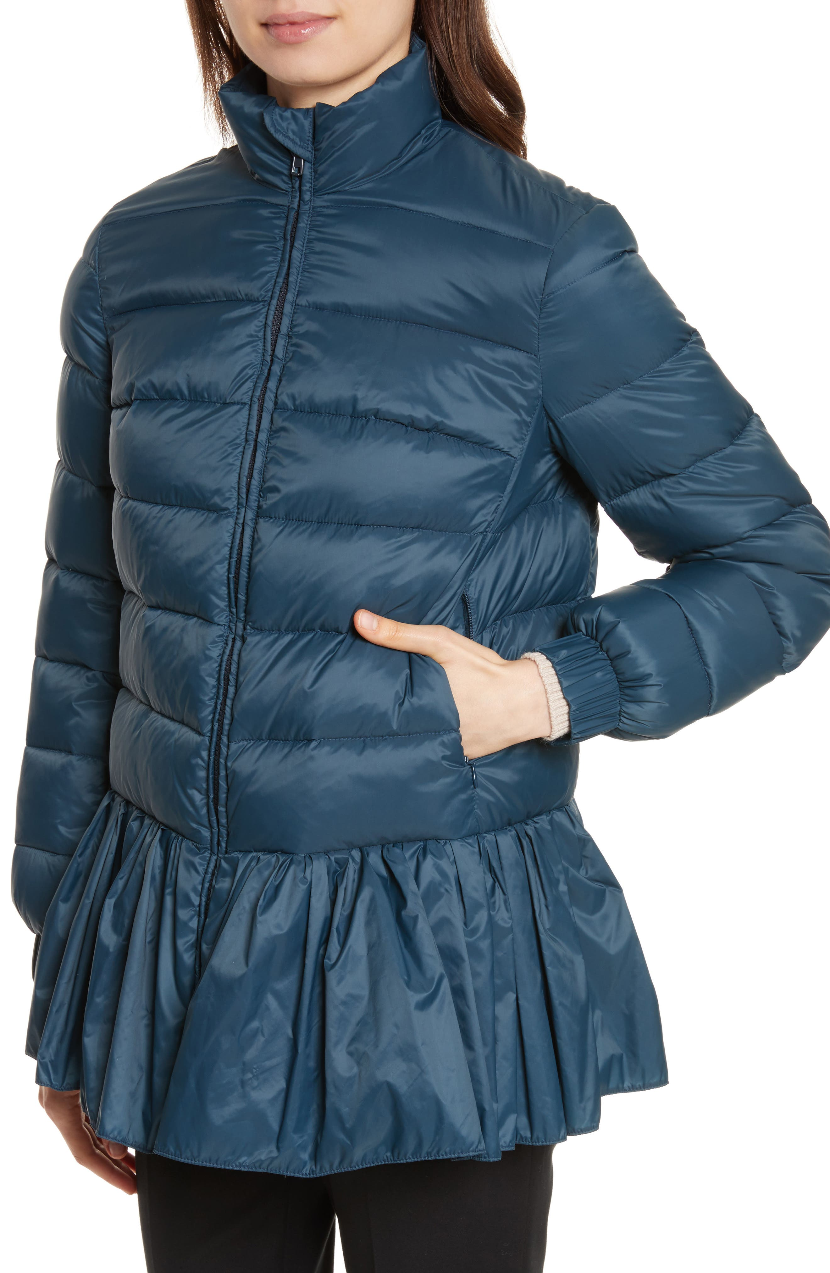 Quilted Peplum Jacket,                             Alternate thumbnail 4, color,                             Oltremare