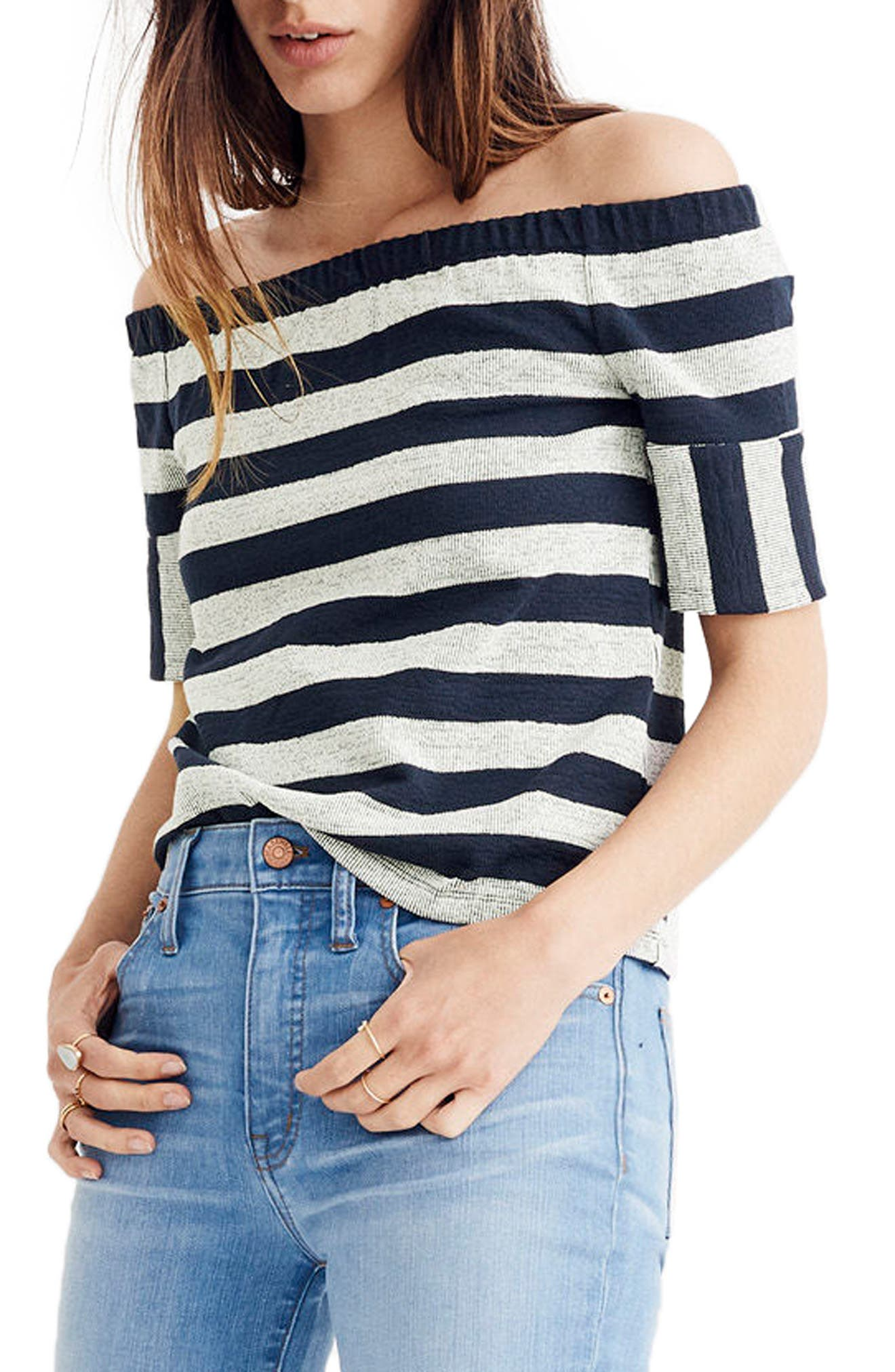 Stripe Off the Shoulder Texture Top,                             Main thumbnail 1, color,                             Deep Navy