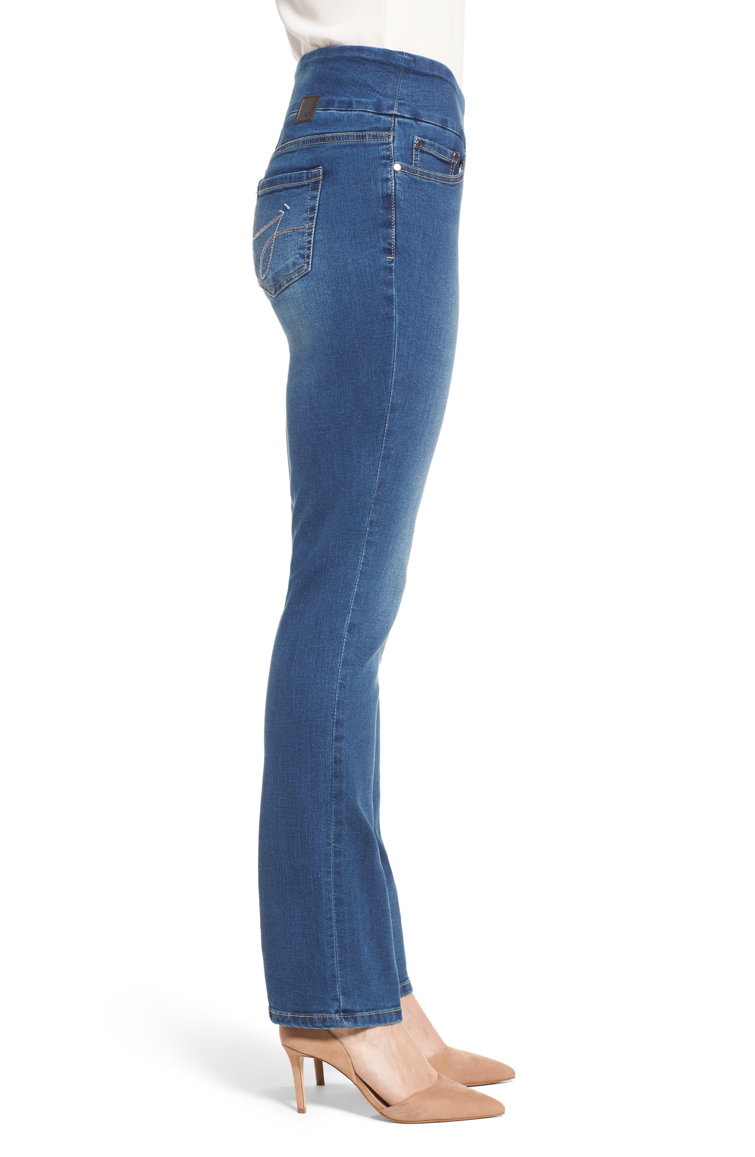 Peri Pull-On Straight Leg Jeans,                             Alternate thumbnail 3, color,                             Medium Indigo
