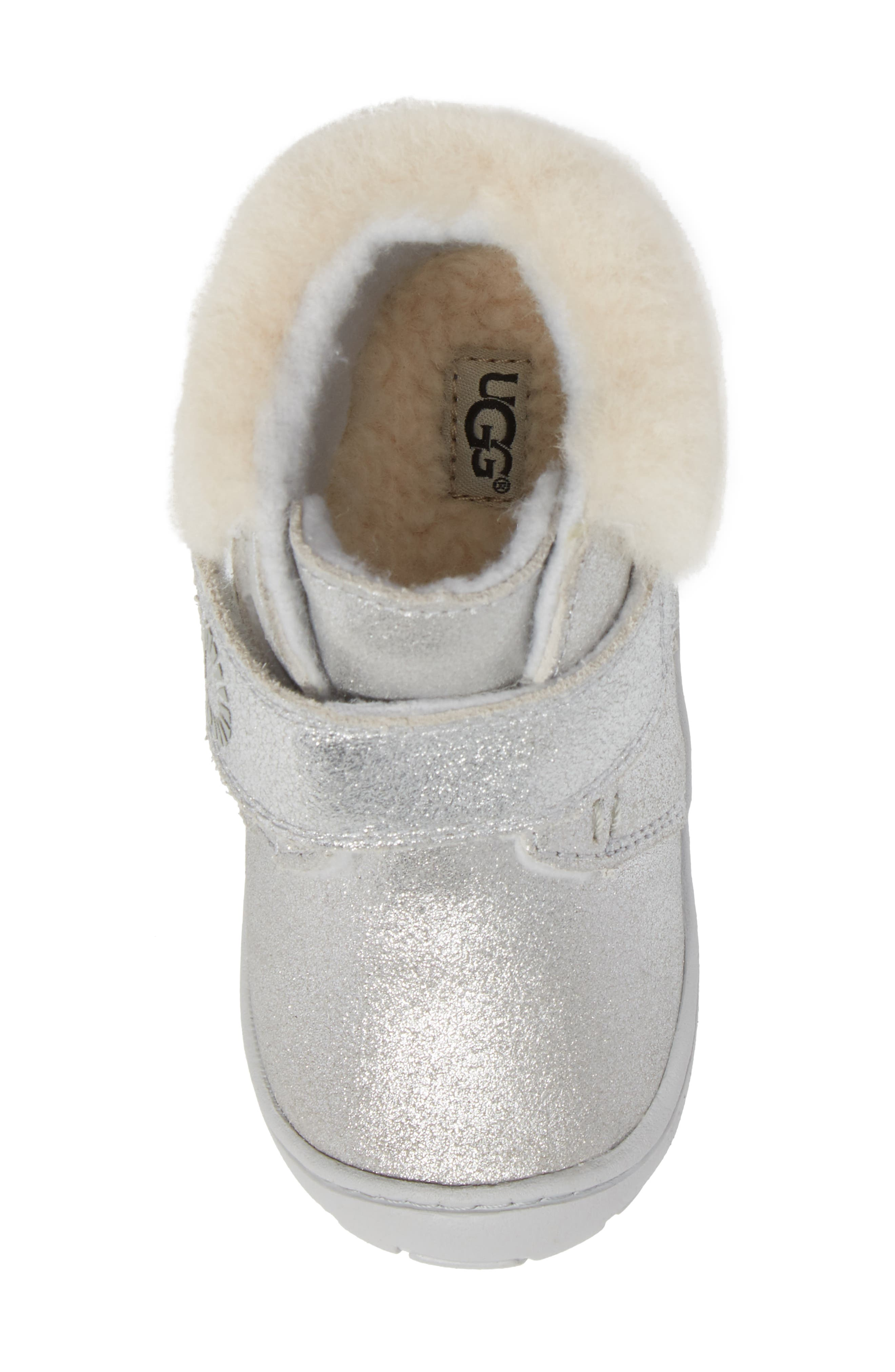 Jorgen Metallic Genuine Shearling Bootie,                             Alternate thumbnail 5, color,                             Silver