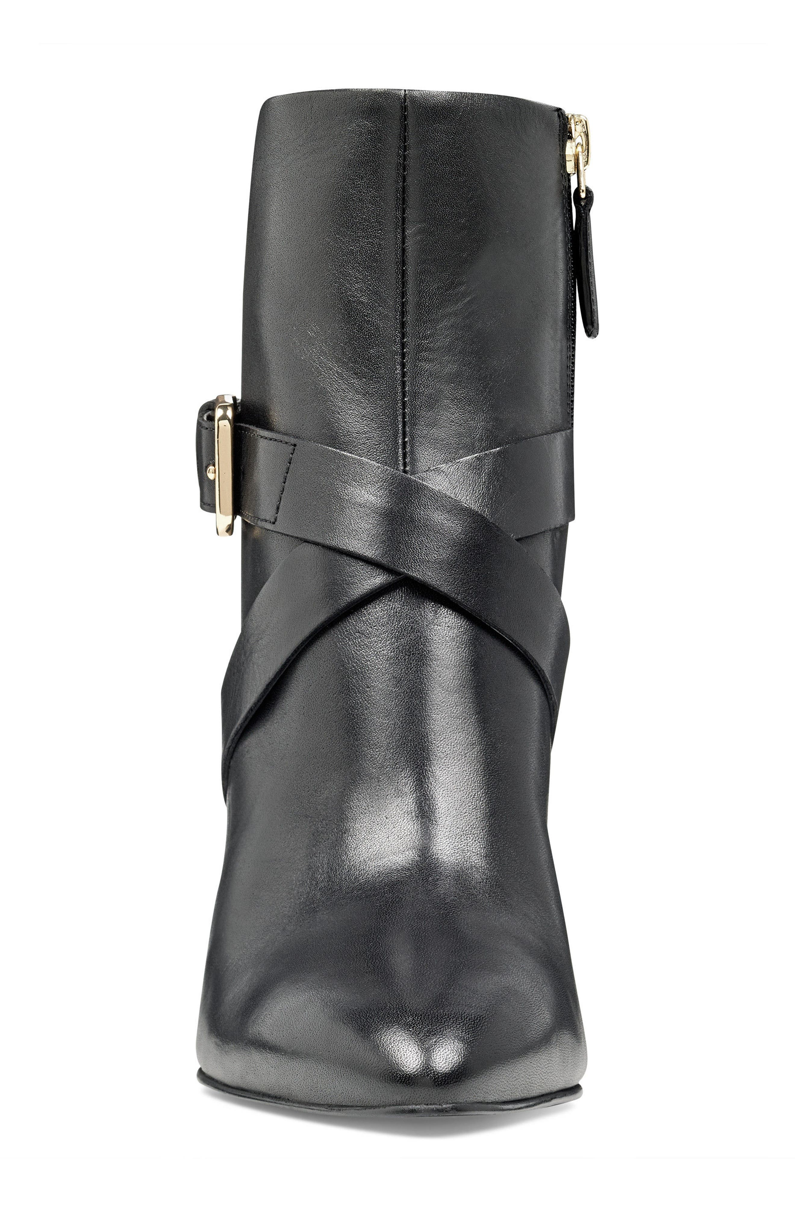 Cavanagh Pointy Toe Bootie,                             Alternate thumbnail 4, color,                             Black Leather