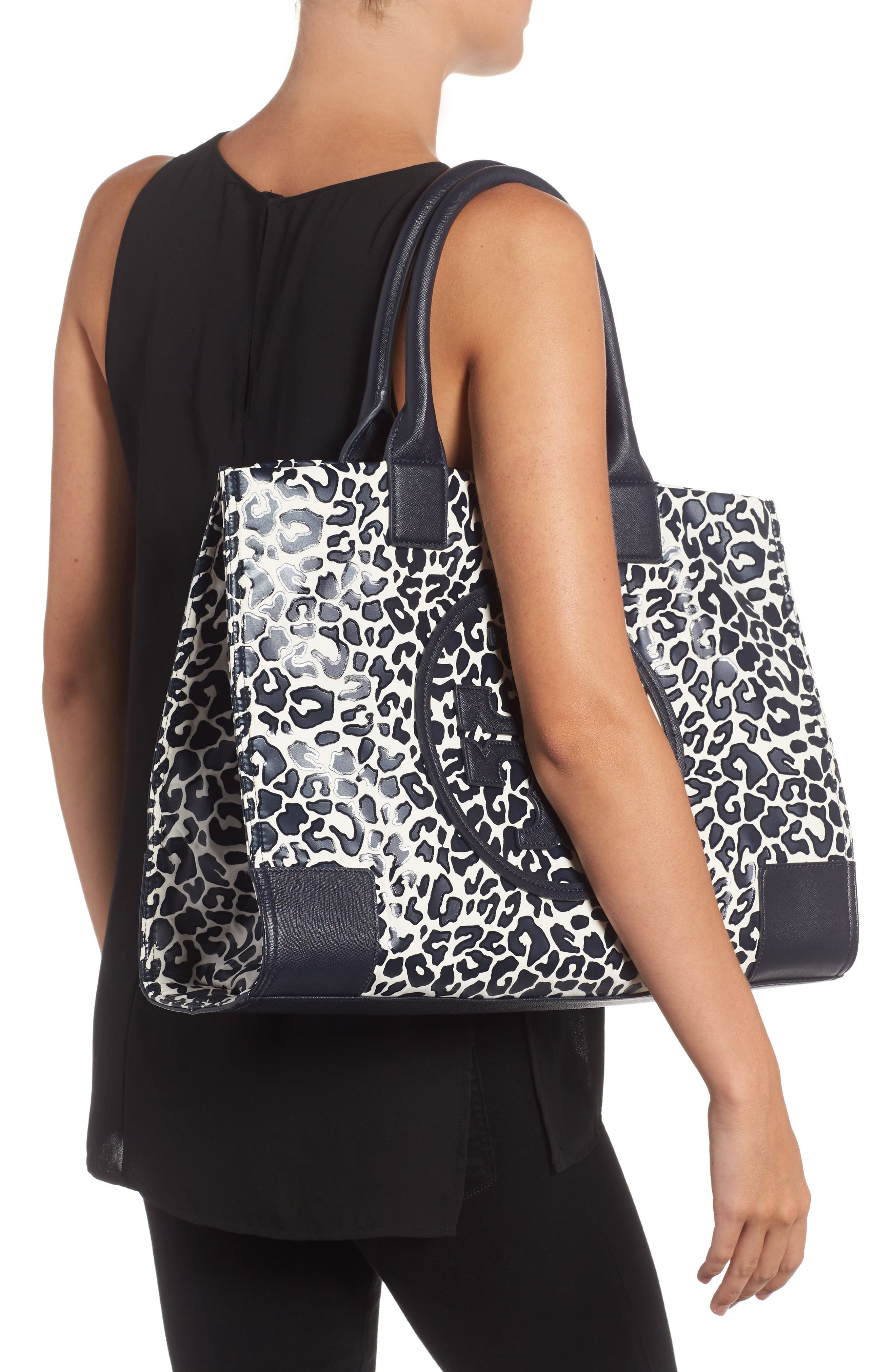 Ella Print Coated Nylon Tote,                             Alternate thumbnail 2, color,                             Tory Navy Clouded Leopard