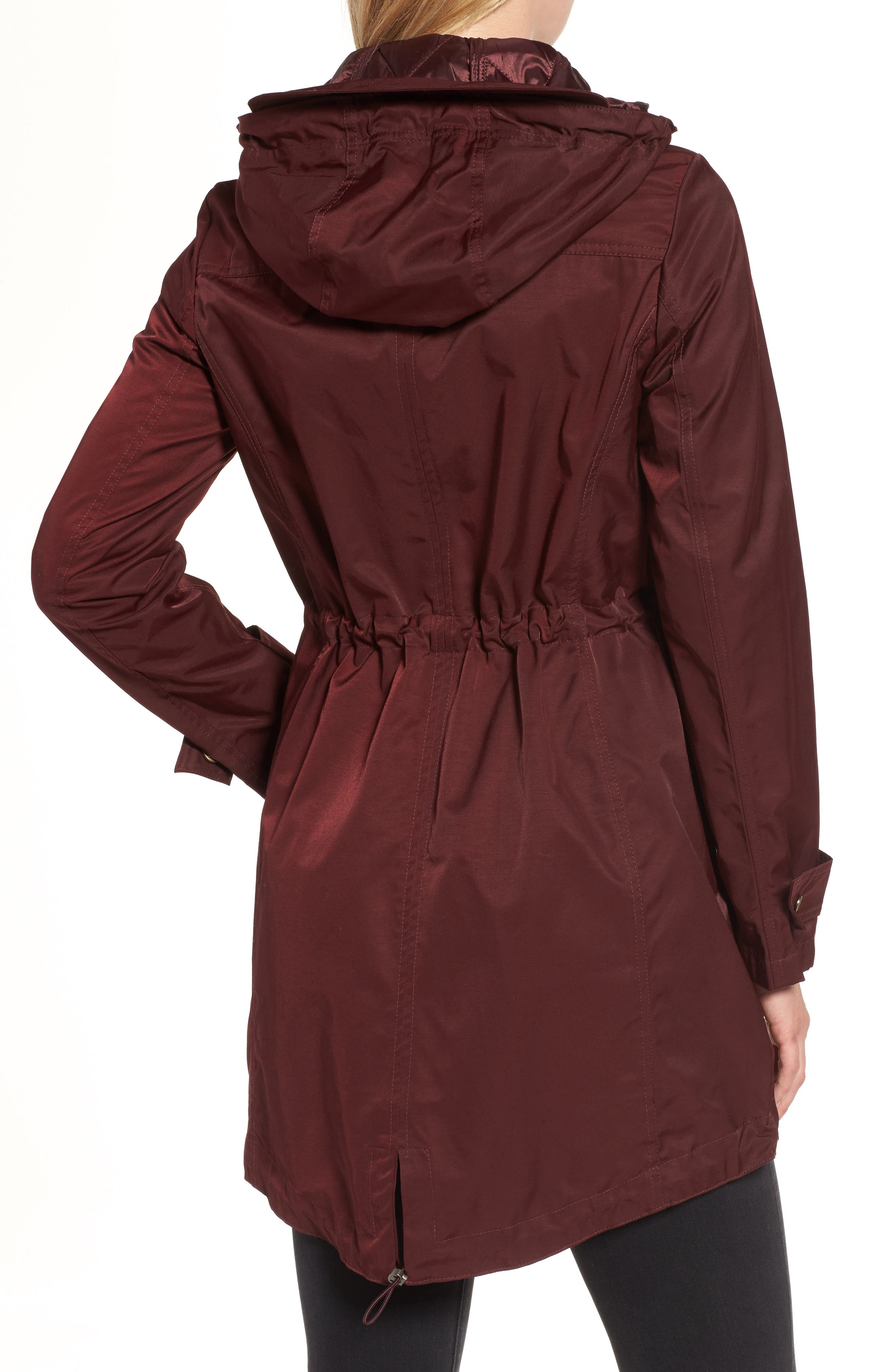 Parka with Detachable Bib Insert,                             Alternate thumbnail 2, color,                             Burgundy