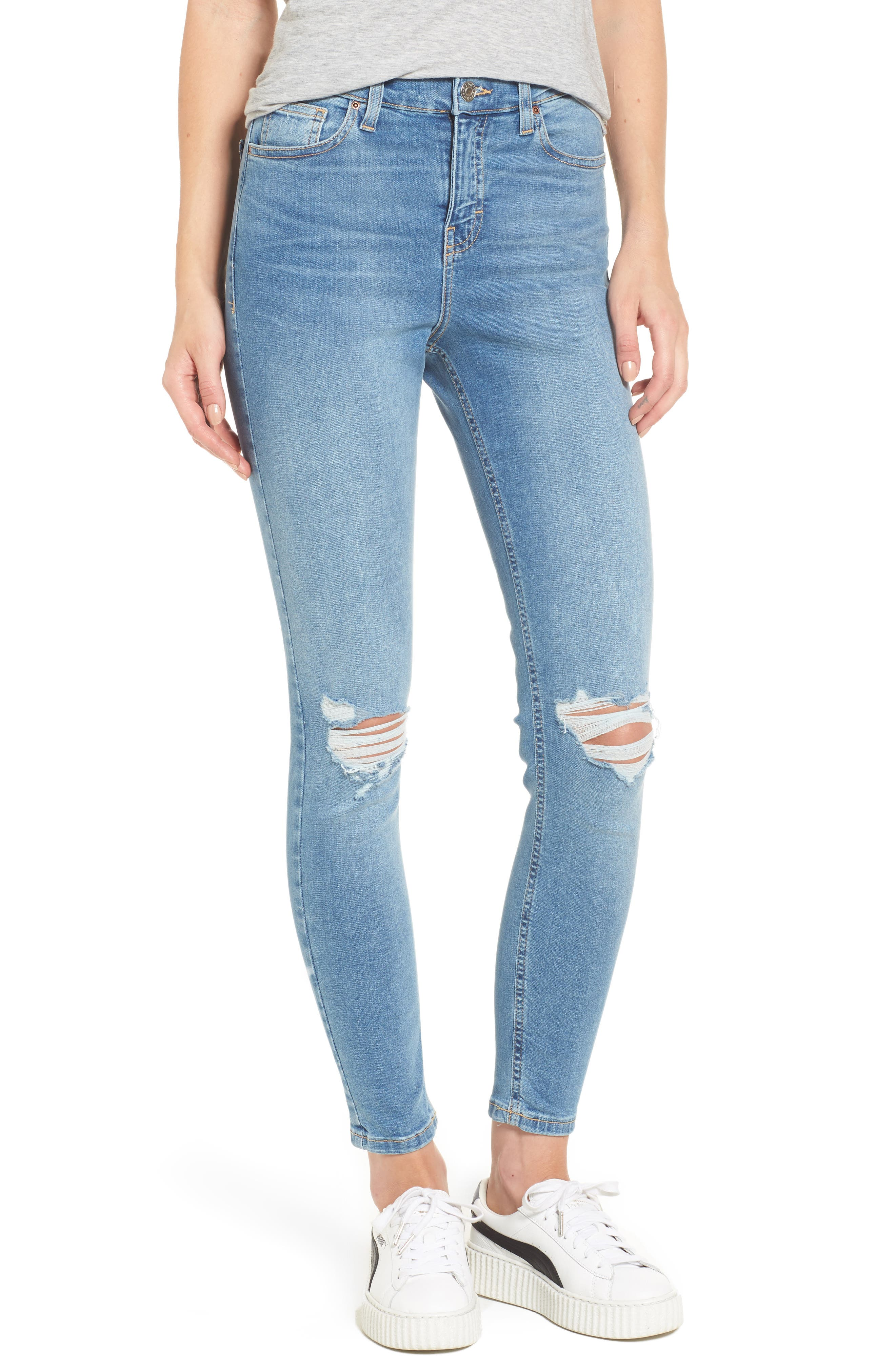 Moto Jamie Ripped High Waist Ankle Skinny Jeans,                         Main,                         color, Mid Denim