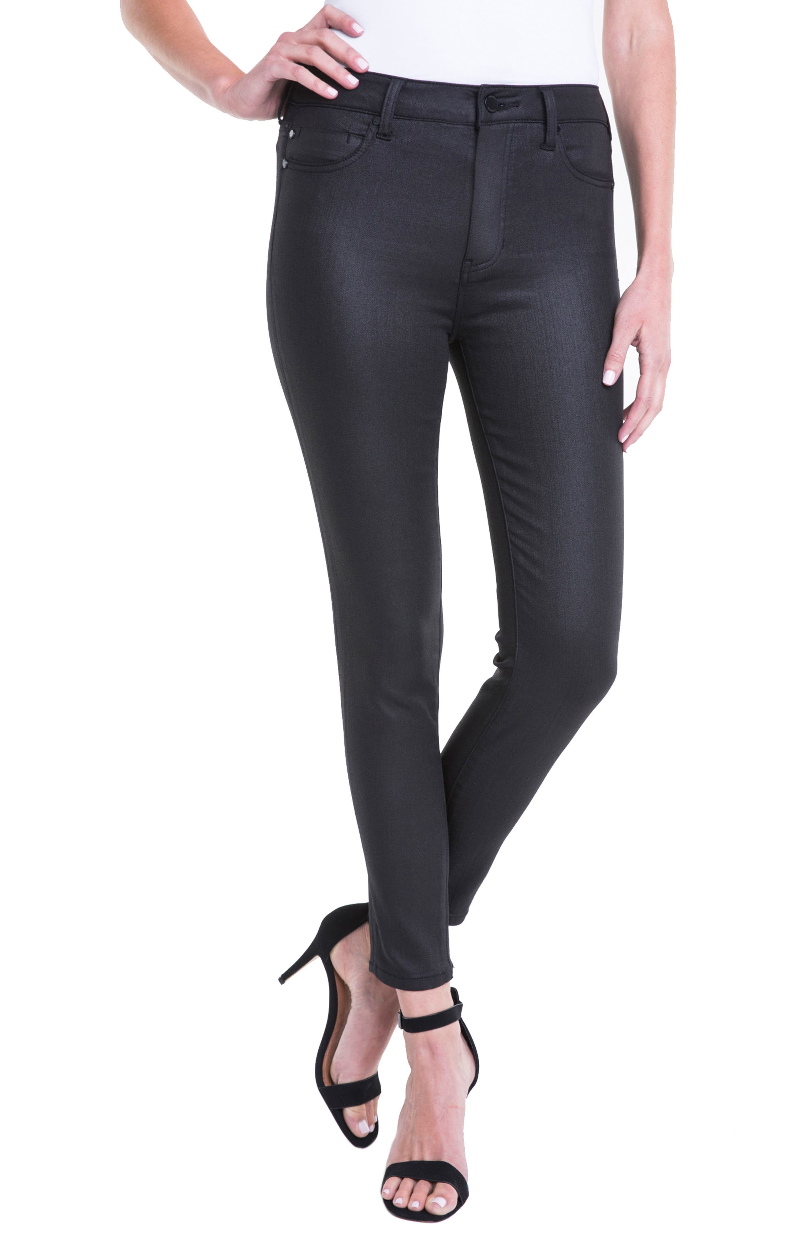 Bridget Coated High Waist Skinny Jeans,                             Alternate thumbnail 5, color,                             Black