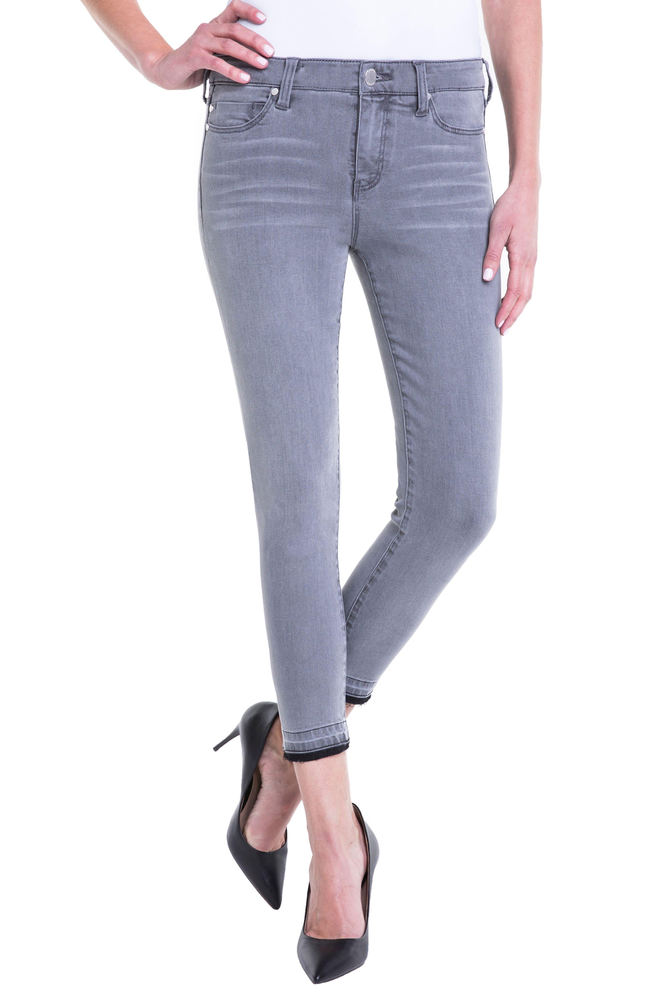 Avery Release Hem Crop Jeans,                             Main thumbnail 1, color,                             Aluminum Wash