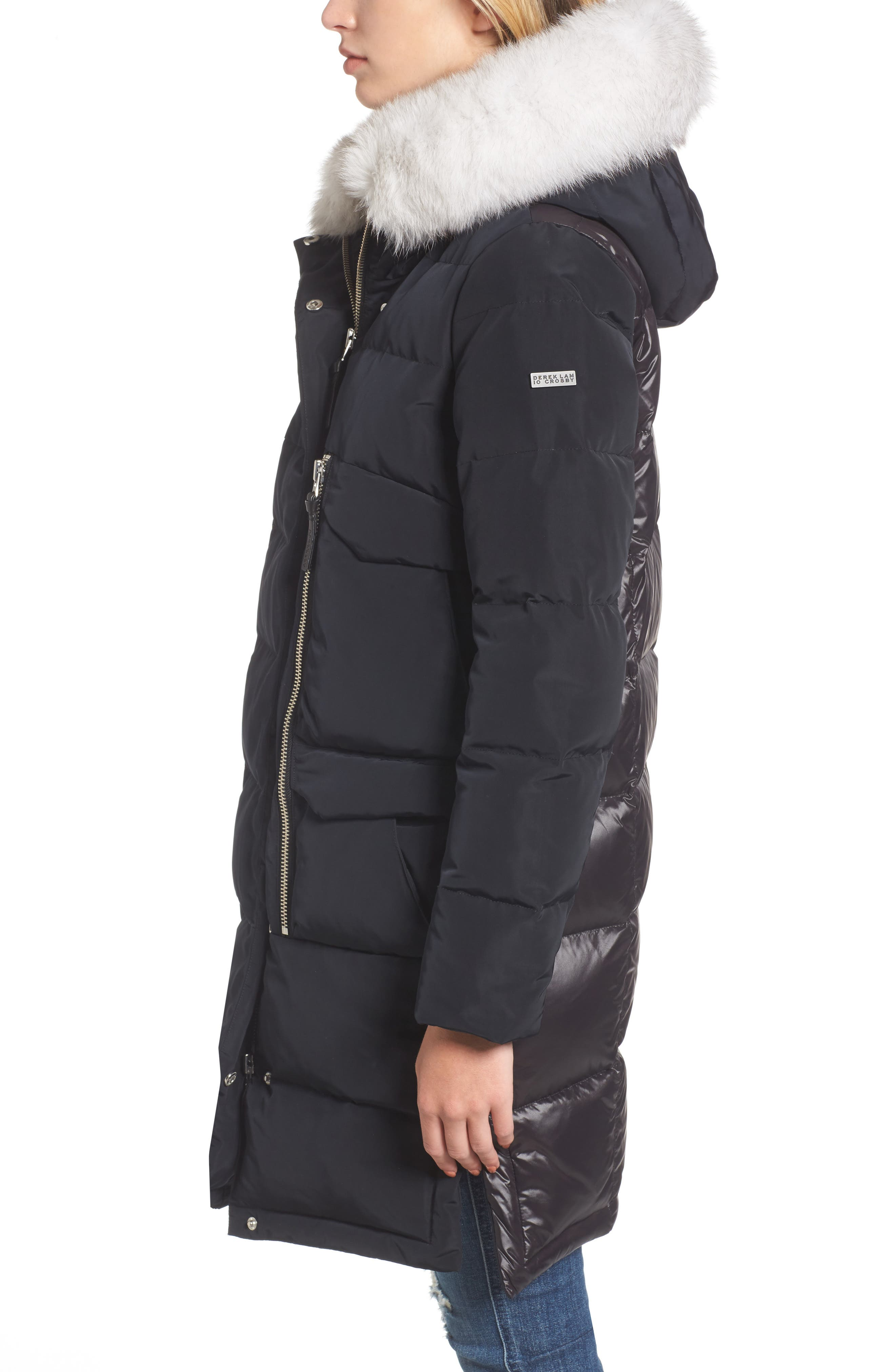 Alternate Image 3  - Derek Lam 10 Crosby Genuine Fox Fur Trim Down Coat