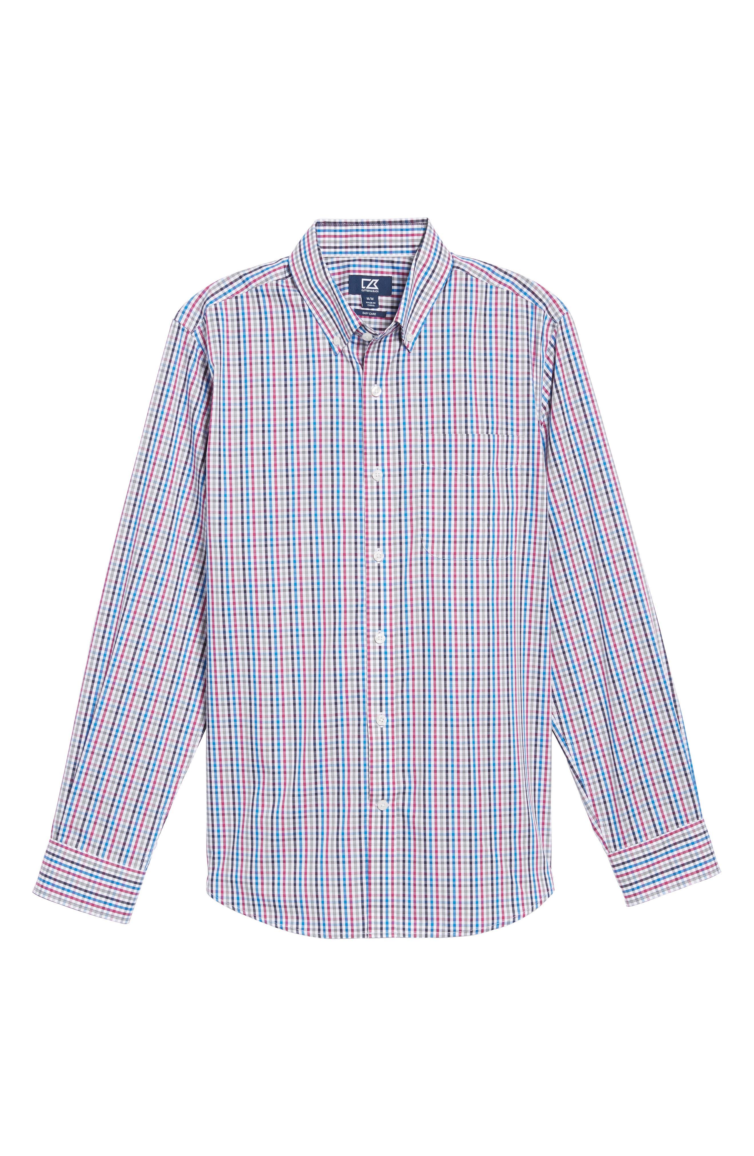 Baxter Epic Easy Care Classic Fit Plaid Sport Shirt,                             Alternate thumbnail 6, color,                             Tannin